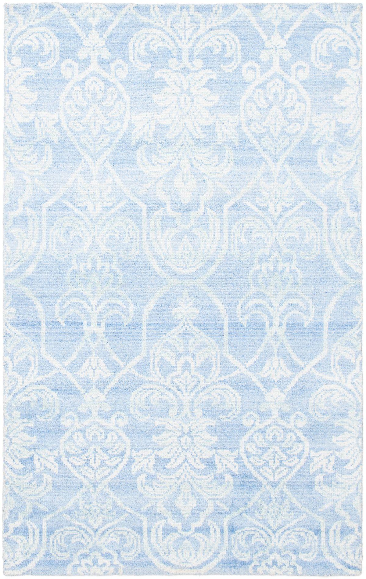 "Hand-knotted Jules Ushak Light Blue   Rug 4'11"" x 7'9"" Size: 4'11"" x 7'9"""
