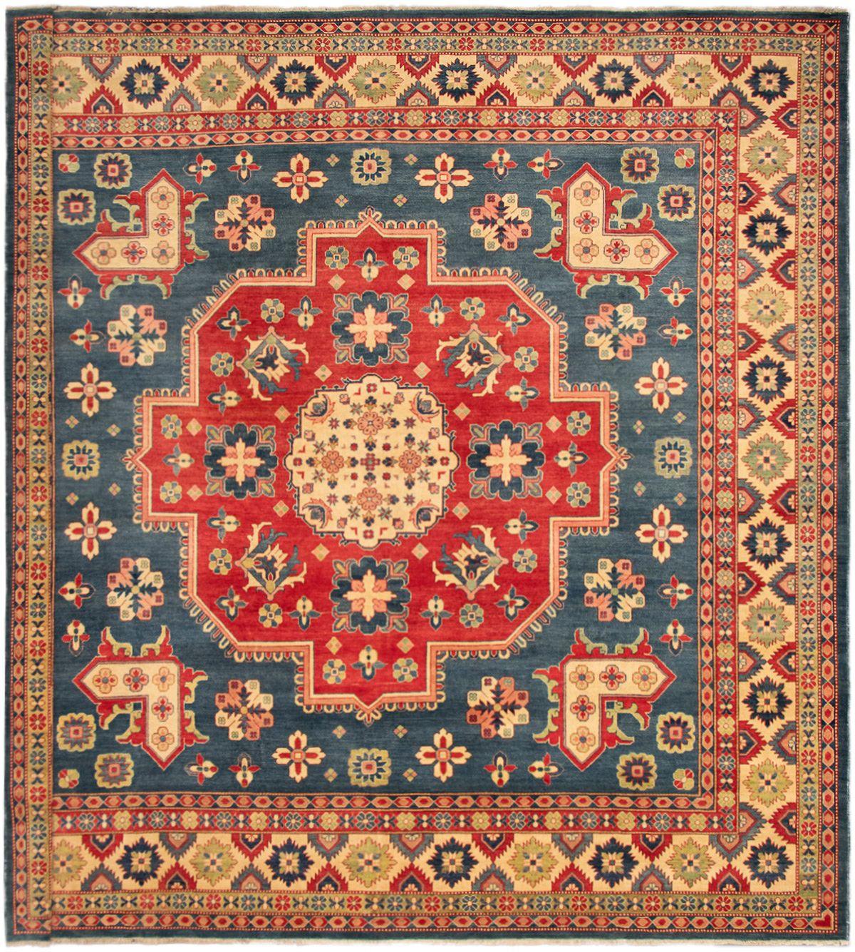 "Hand-knotted Finest Gazni Dark Blue Wool Rug 12'11"" x 12'10"" Size: 12'11"" x 12'10"""