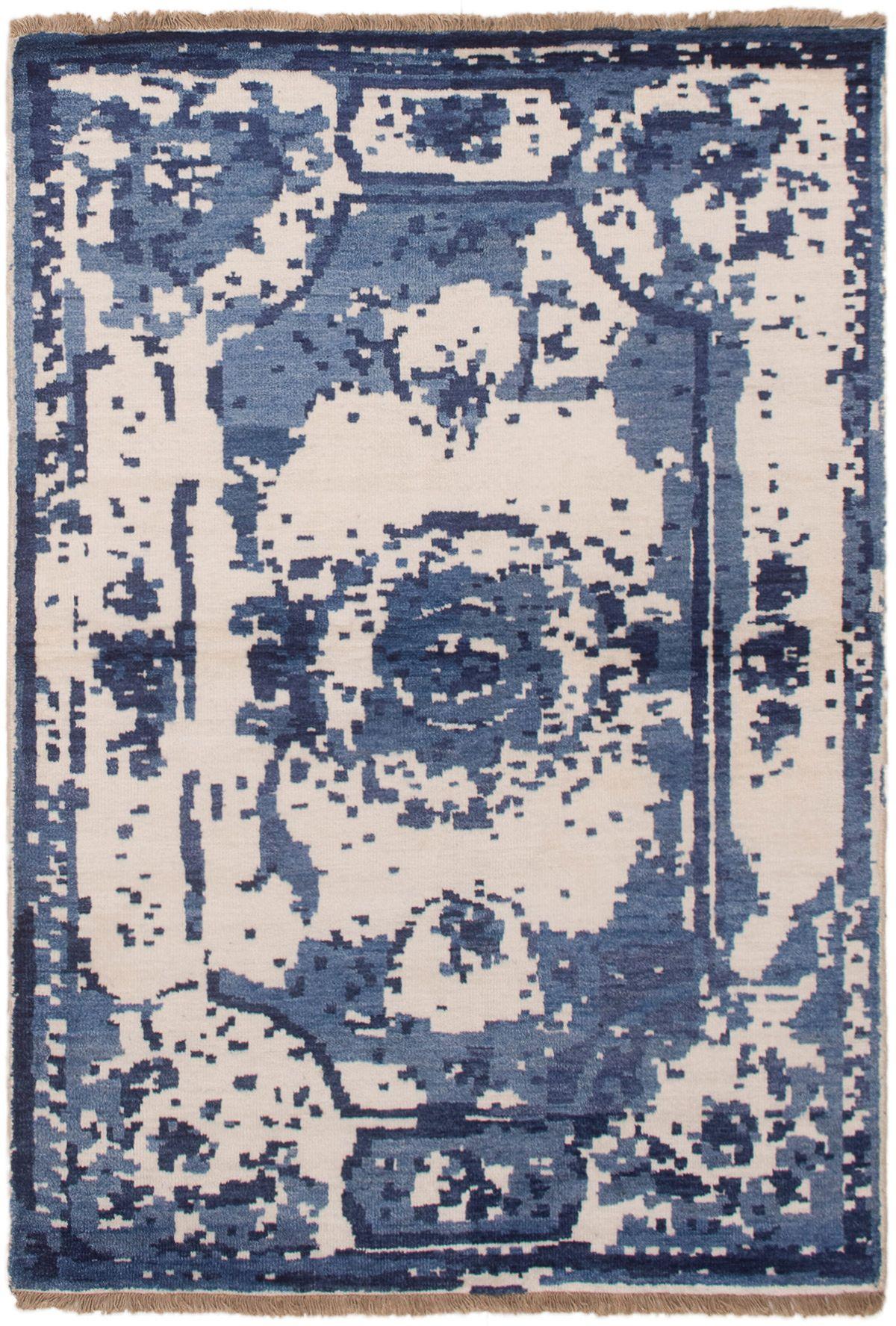 "Hand-knotted Jules Ushak Dark Blue  Rug 4'6"" x 6'5"" Size: 4'6"" x 6'5"""