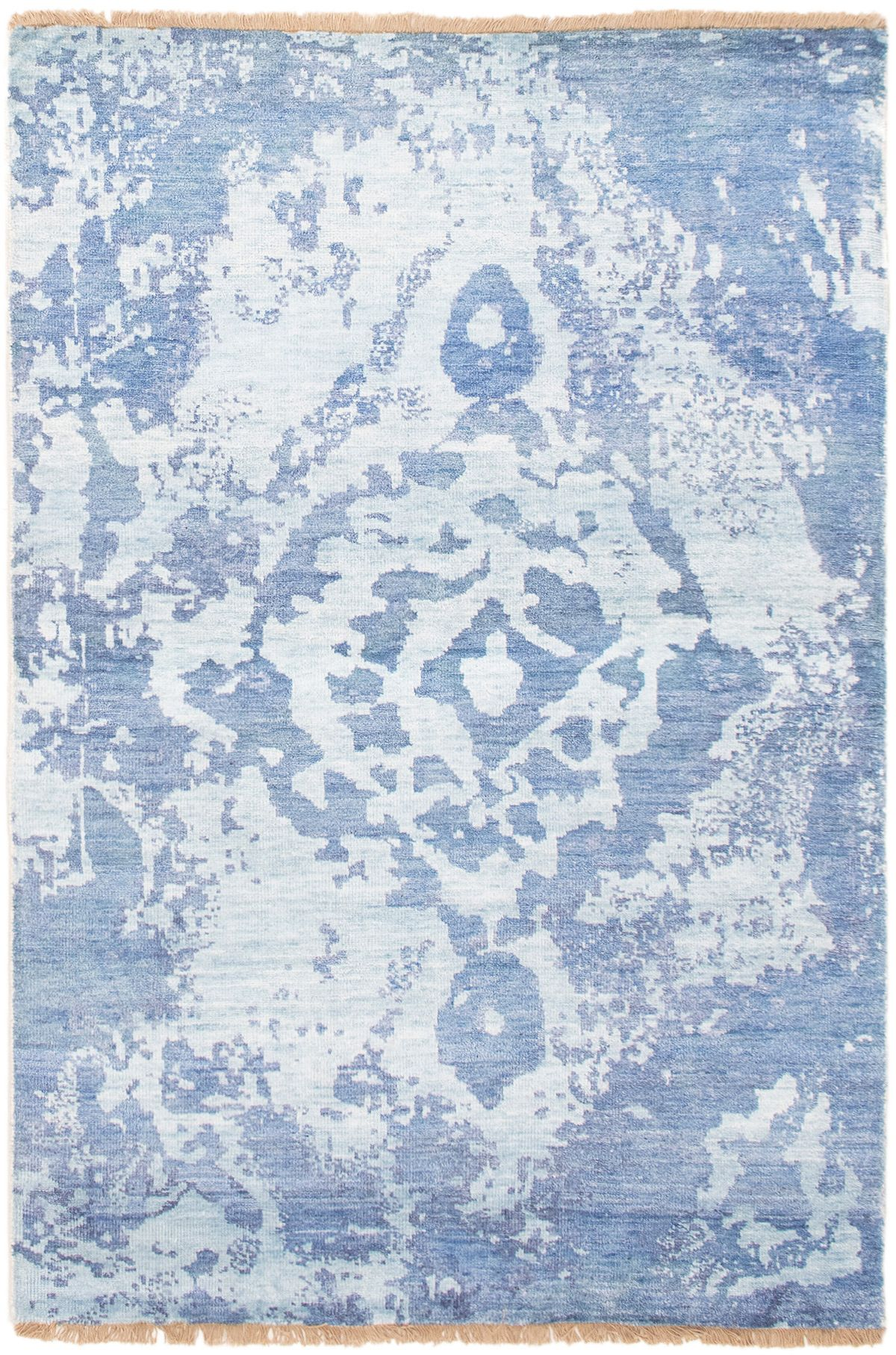 "Hand-knotted Jules Ushak Blue  Rug 4'5"" x 6'6"" Size: 4'5"" x 6'6"""