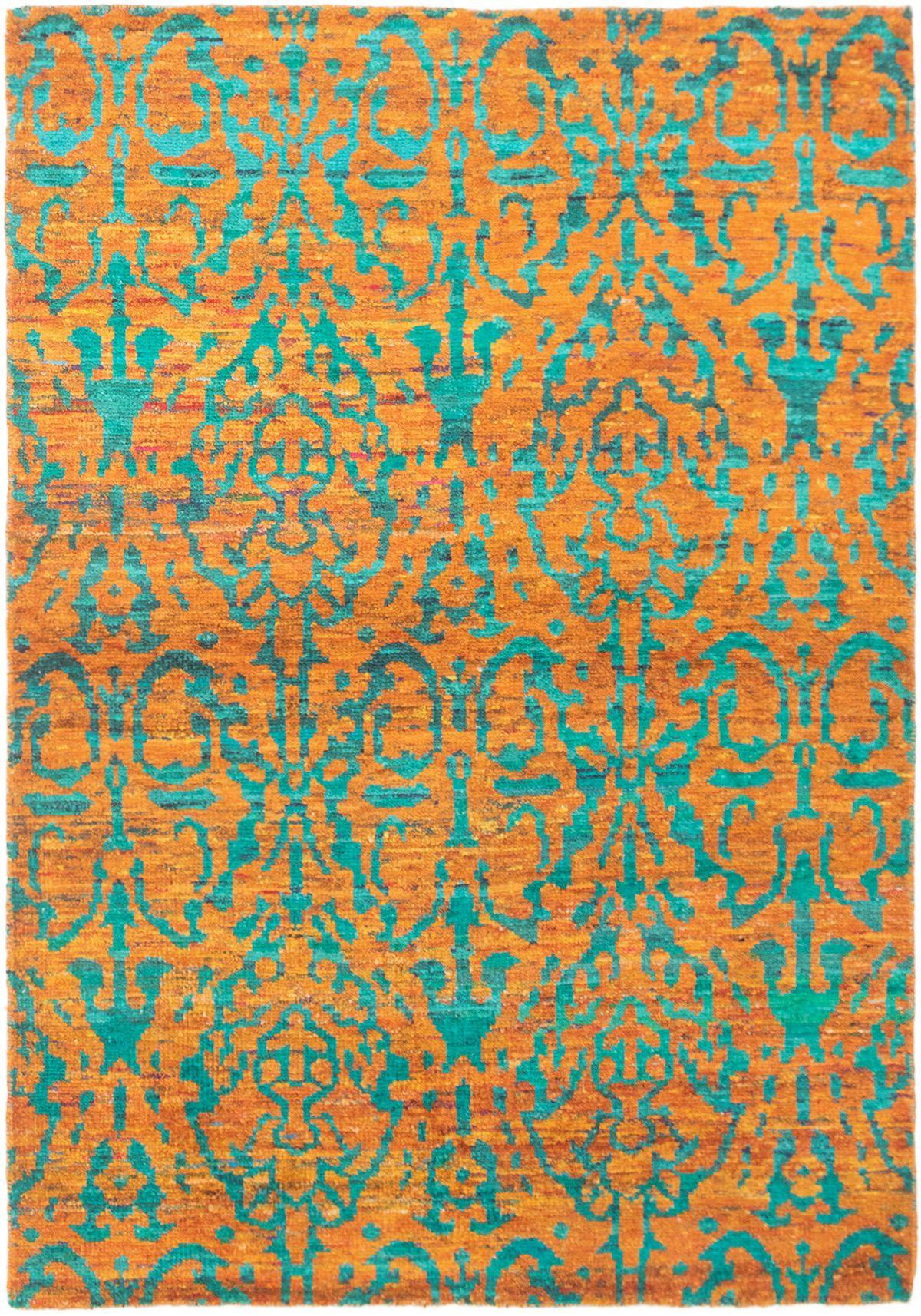 "Hand-knotted Sari Silk Light Orange  Rug 5'3"" x 7'5"" Size: 5'3"" x 7'5"""