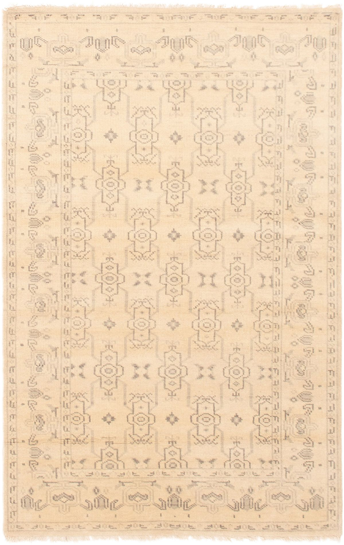 """Hand-knotted Finest Ushak Cream Wool Rug 5'0"""" x 7'11"""" Size: 5'0"""" x 7'11"""""""