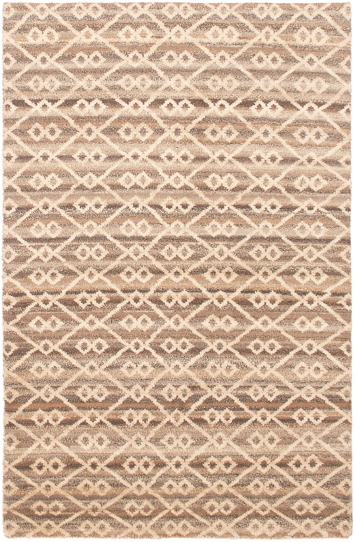 """Hand-knotted Tangier Cream Wool Rug 5'1"""" x 7'11""""  Size: 5'1"""" x 7'11"""""""