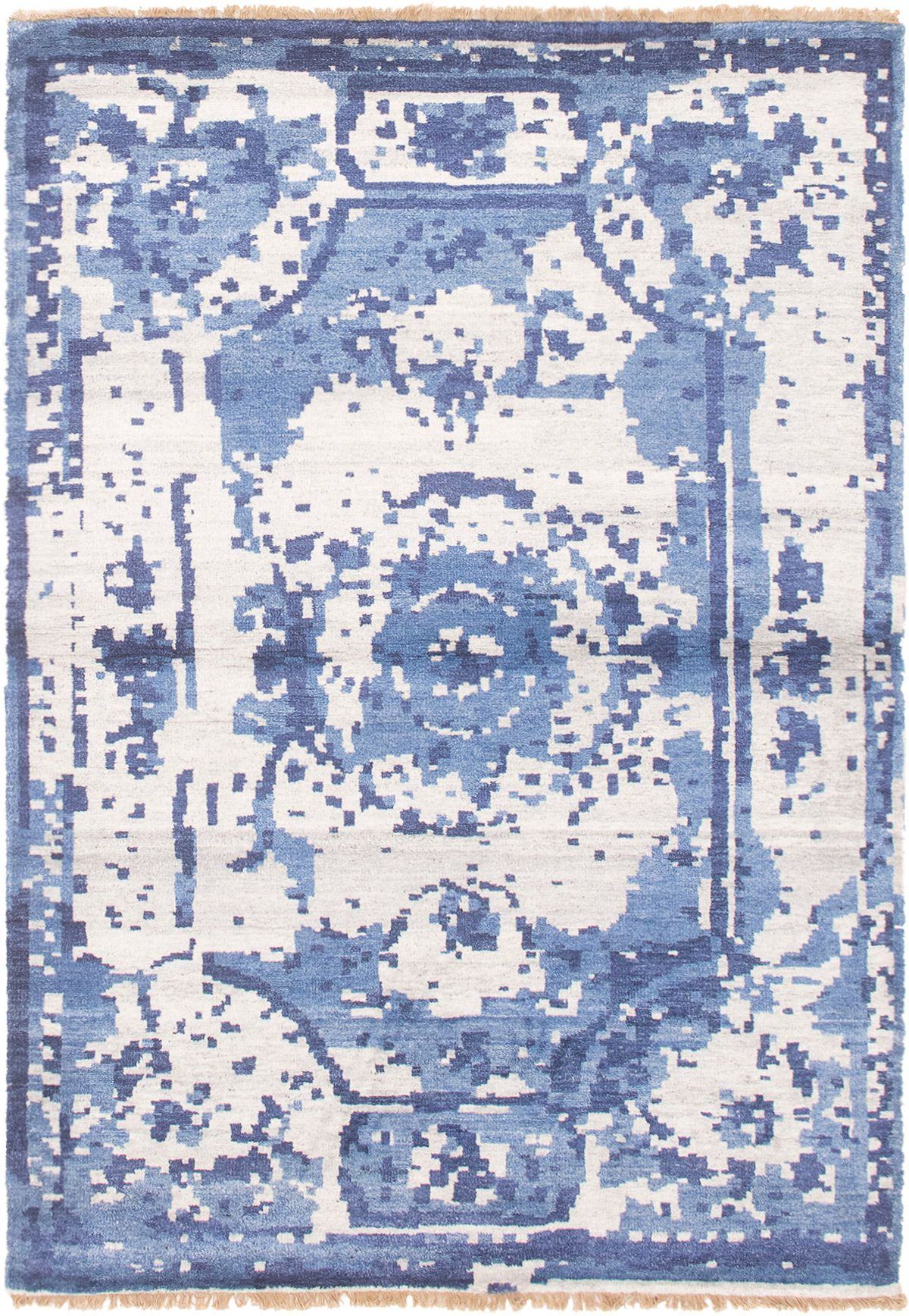"Hand-knotted Jules Ushak Cream, Dark Blue  Rug 4'7"" x 6'7"" Size: 4'7"" x 6'7"""