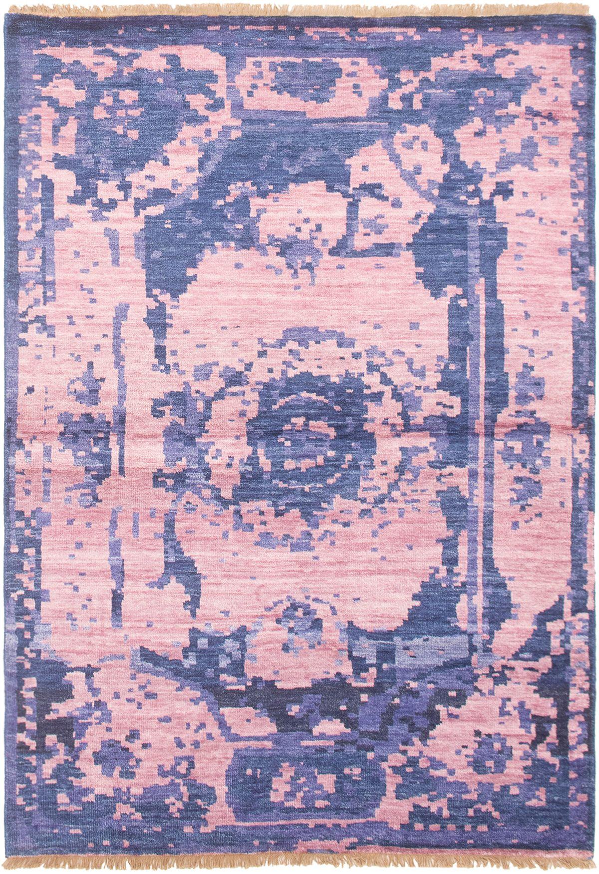 "Hand-knotted Jules Ushak Dark Blue, Pink  Rug 4'1"" x 6'7"" Size: 4'1"" x 6'7"""