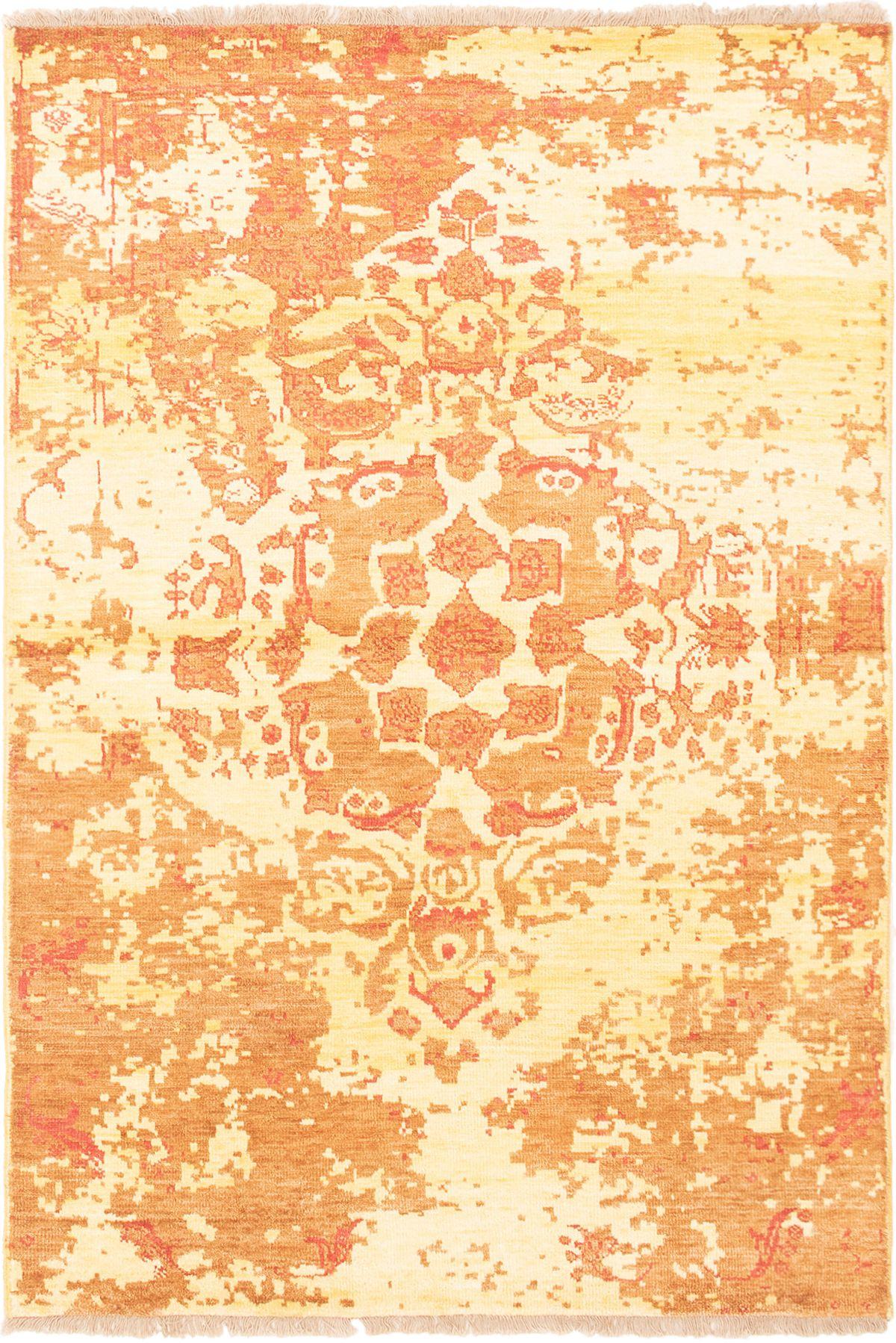 "Hand-knotted Color transition Burnt Orange  Rug 4'6"" x 6'8"" Size: 4'6"" x 6'8"""