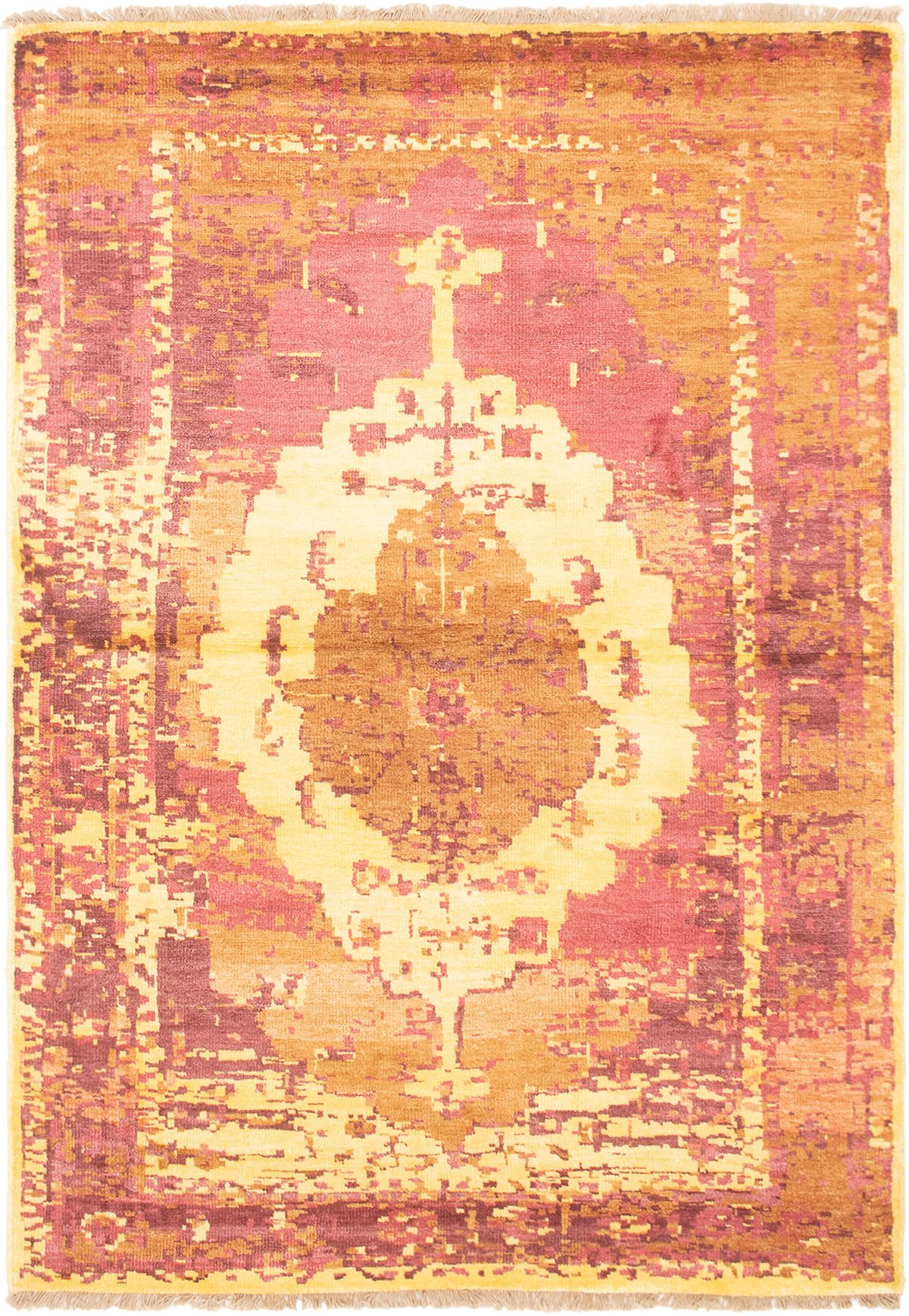 """Hand-knotted Color transition Dark Copper  Rug 5'5"""" x 7'8"""" Size: 5'5"""" x 7'8"""""""