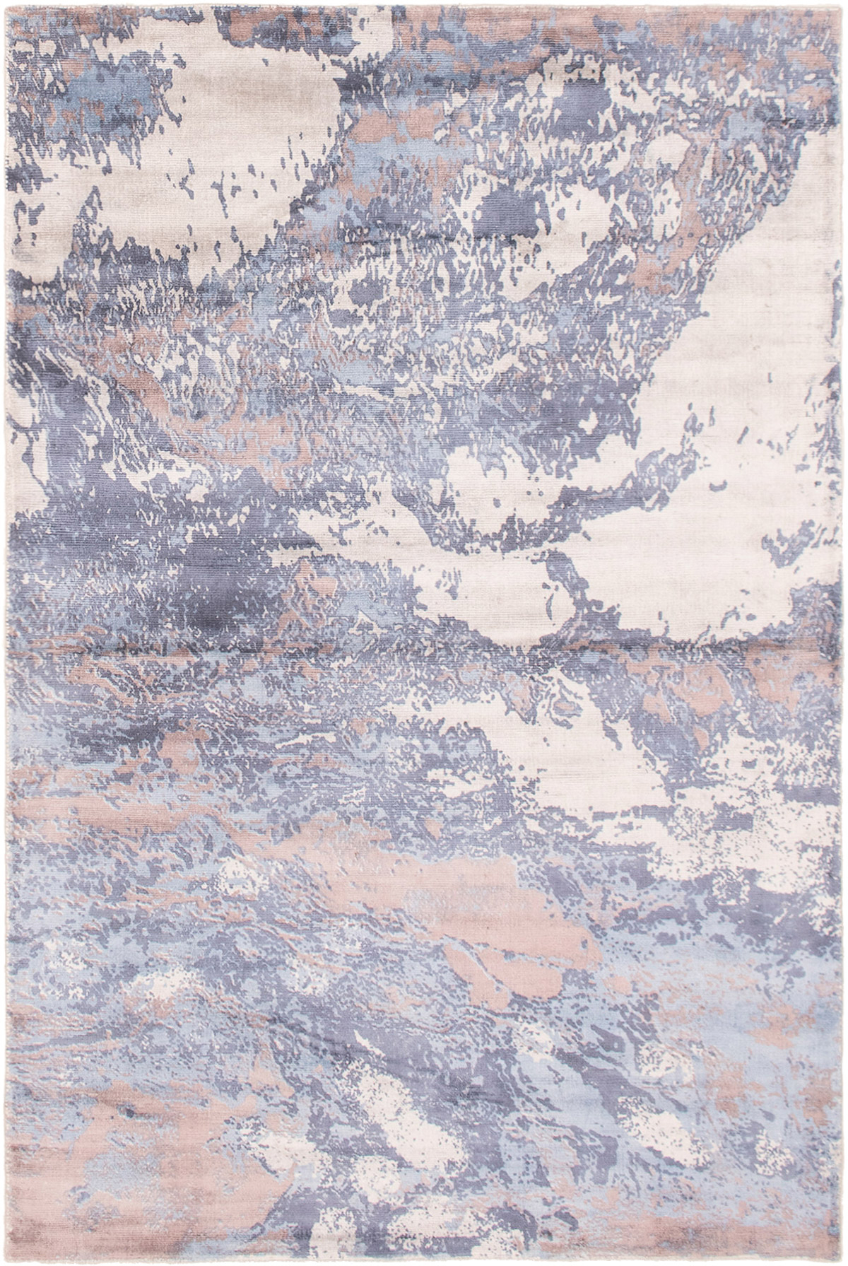 """Hand loomed Galleria Blue Viscose Rug 4'10"""" x 7'5"""" Size: 4'10"""" x 7'5"""""""