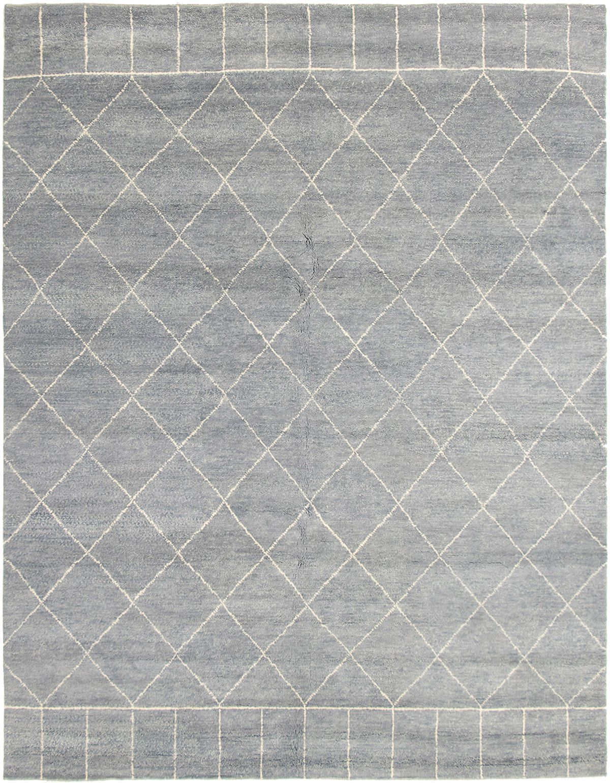 """Hand-knotted Tangier Light Denim Blue,  Wool Rug 8'2"""" x 10'2"""" Size: 8'2"""" x 10'2"""""""