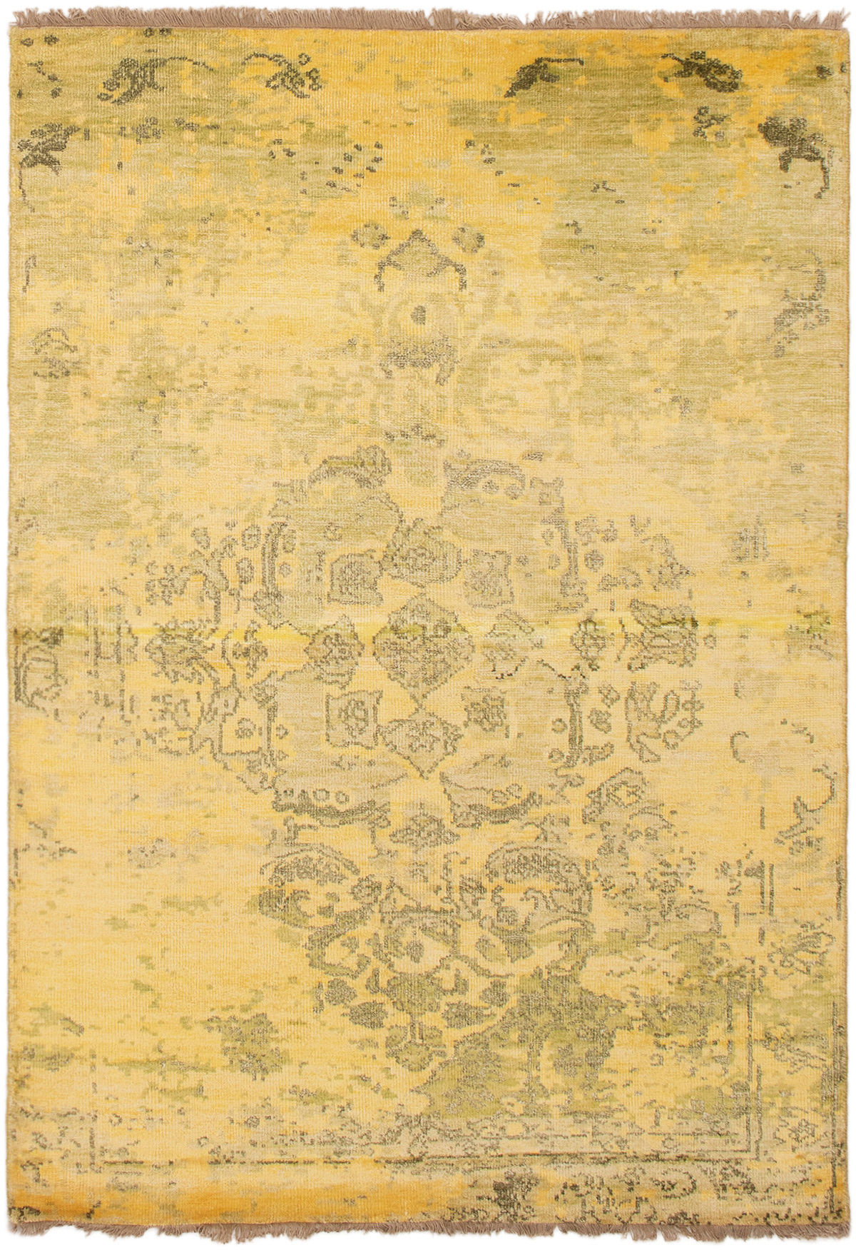 """Hand-knotted Color transition Gold  Rug 4'8"""" x 6'8"""" Size: 4'8"""" x 6'8"""""""