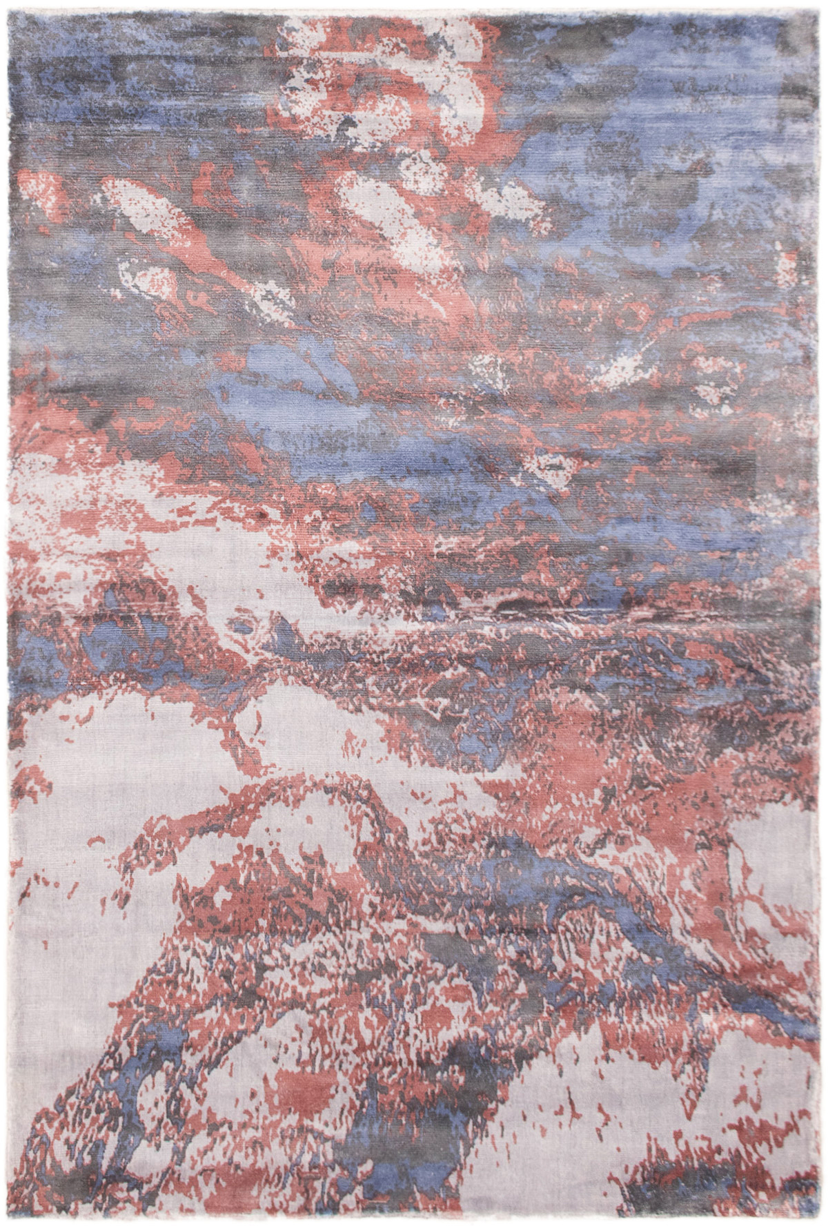 """Hand loomed Galleria Blue Viscose Rug 5'0"""" x 7'6""""  Size: 5'0"""" x 7'6"""""""