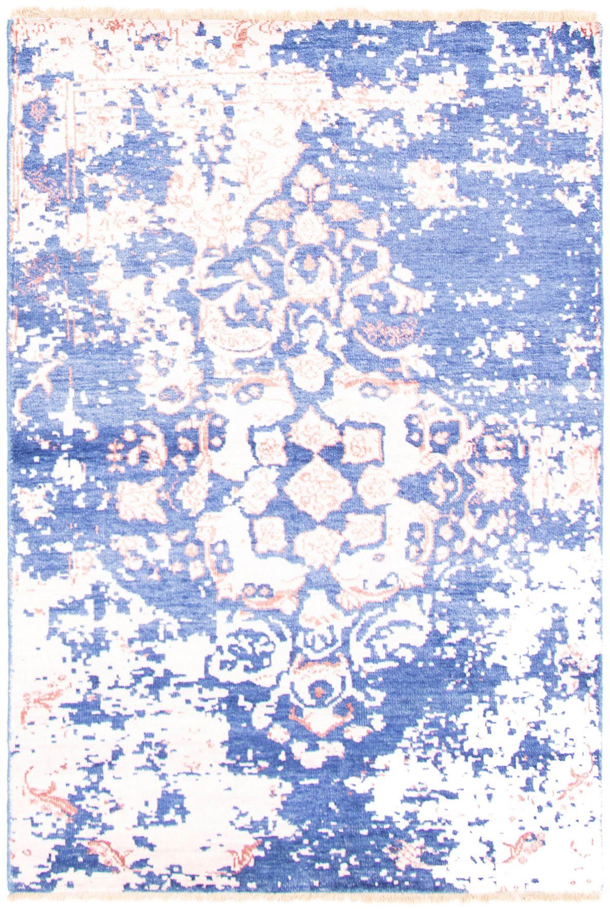"Hand-knotted Jules Ushak Dark Blue  Rug 4'8"" x 6'10"" Size: 4'8"" x 6'10"""