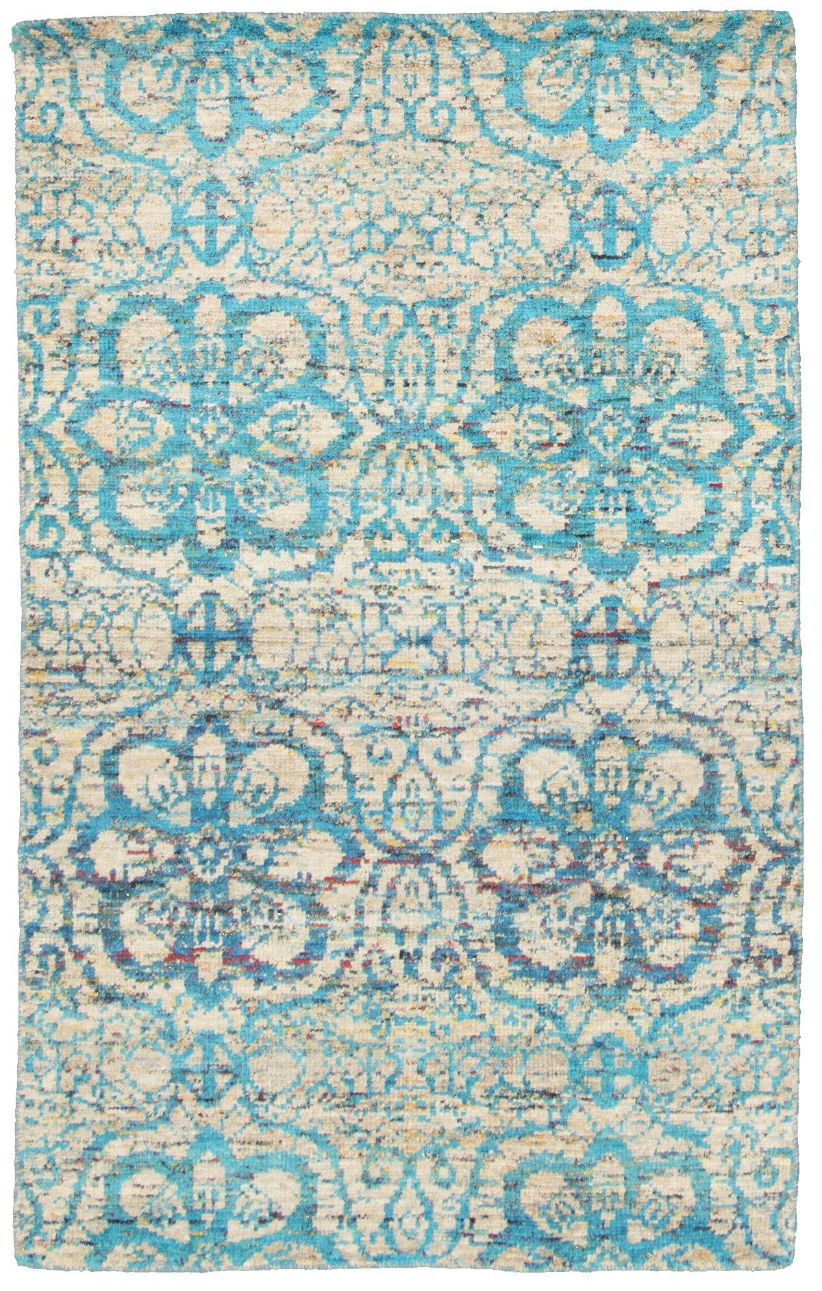 "Hand-knotted Sari Silk Blue  Rug 4'10"" x 7'10"" Size: 4'10"" x 7'10"""