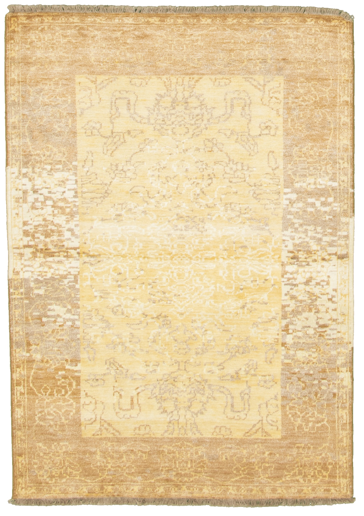 """Hand-knotted Color transition Gold  Rug 4'7"""" x 6'6"""" Size: 4'7"""" x 6'6"""""""
