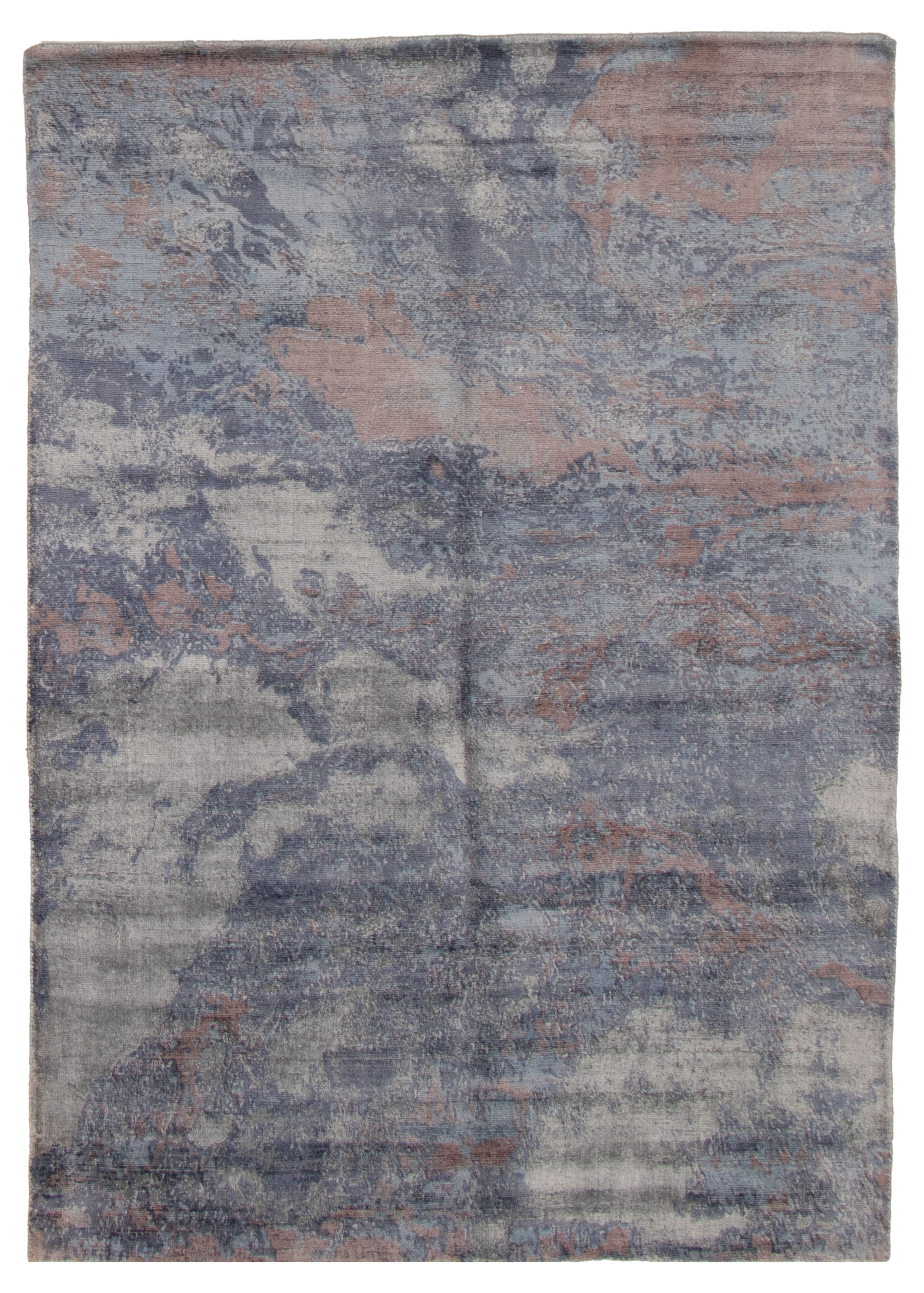 "Hand loomed Galleria Dark Blue Viscose Rug 5'2"" x 7'4"" Size: 5'2"" x 7'4"""
