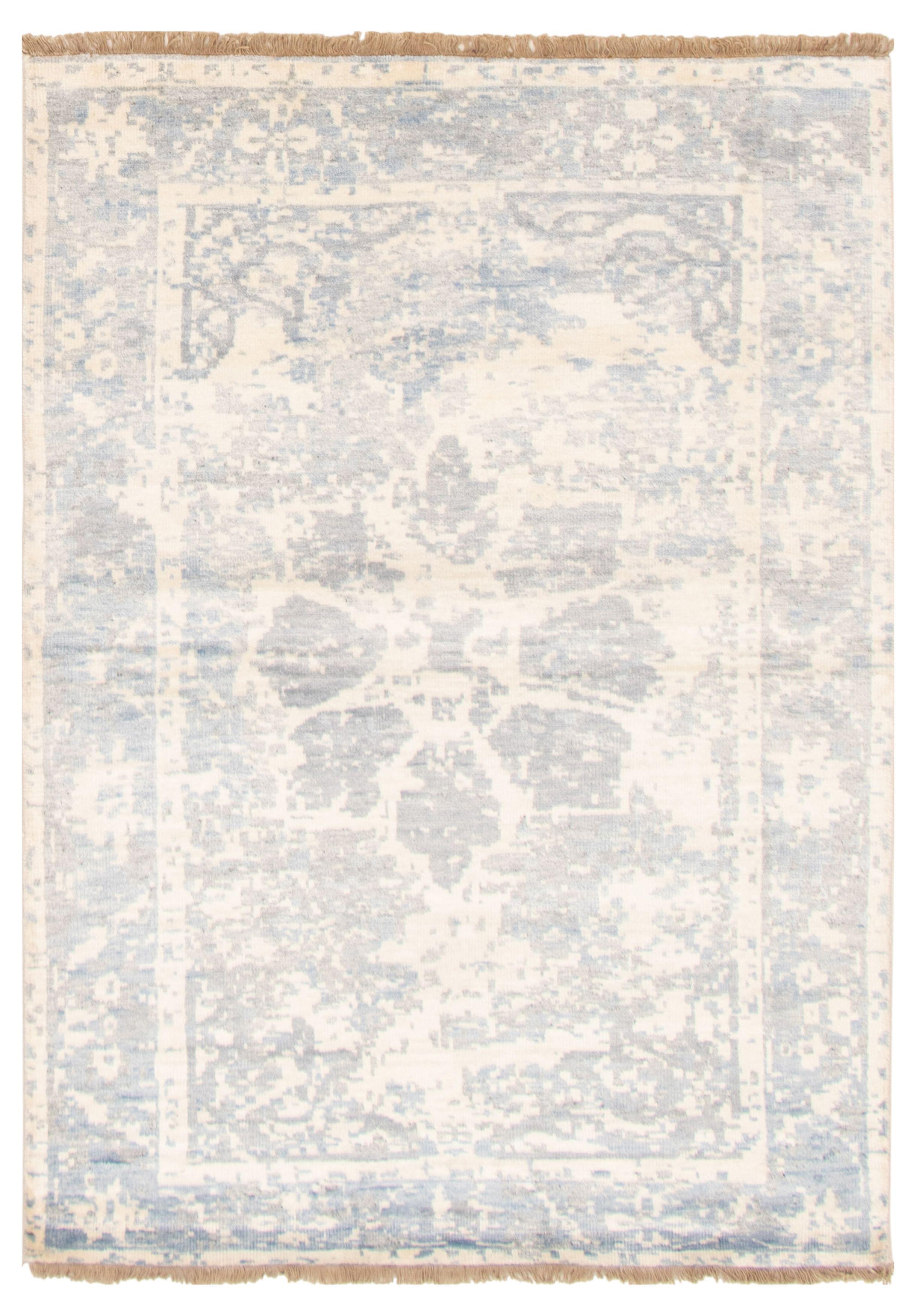 "Hand-knotted Jules Ushak Light Blue   Rug 4'6"" x 6'5"" Size: 4'6"" x 6'5"""