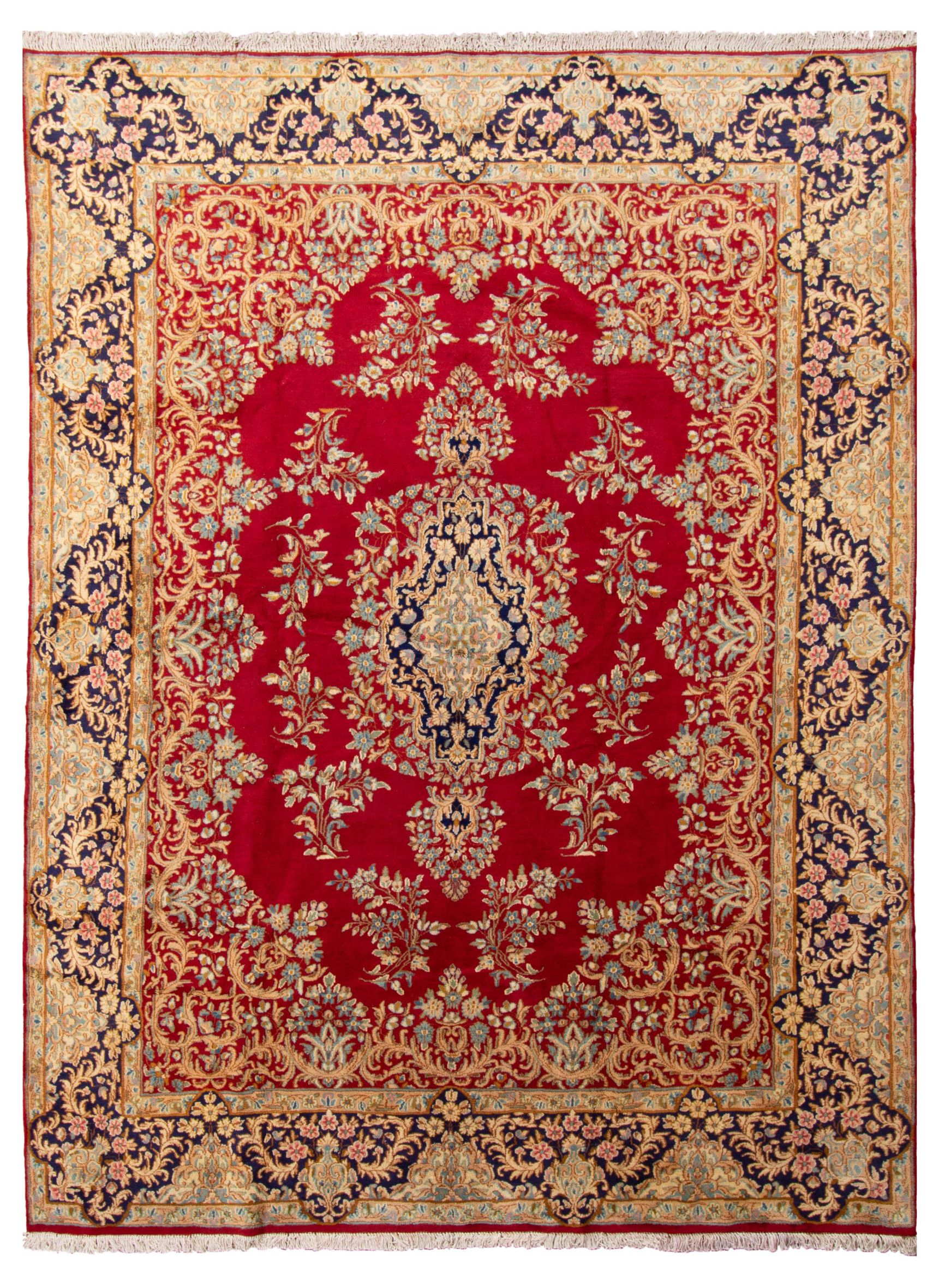 "Hand-knotted Kerman  Wool Rug 8'11"" x 12'0"" Size: 8'11"" x 12'0"""