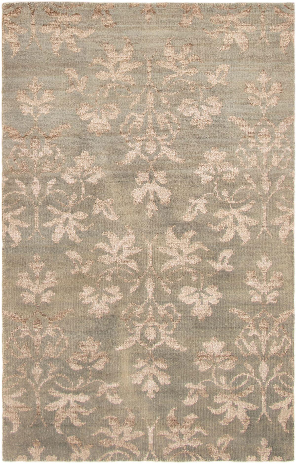 "Hand-knotted La Seda Light Green Wool/Silk Rug 4'11"" x 7'11"" Size: 4'11"" x 7'11"""