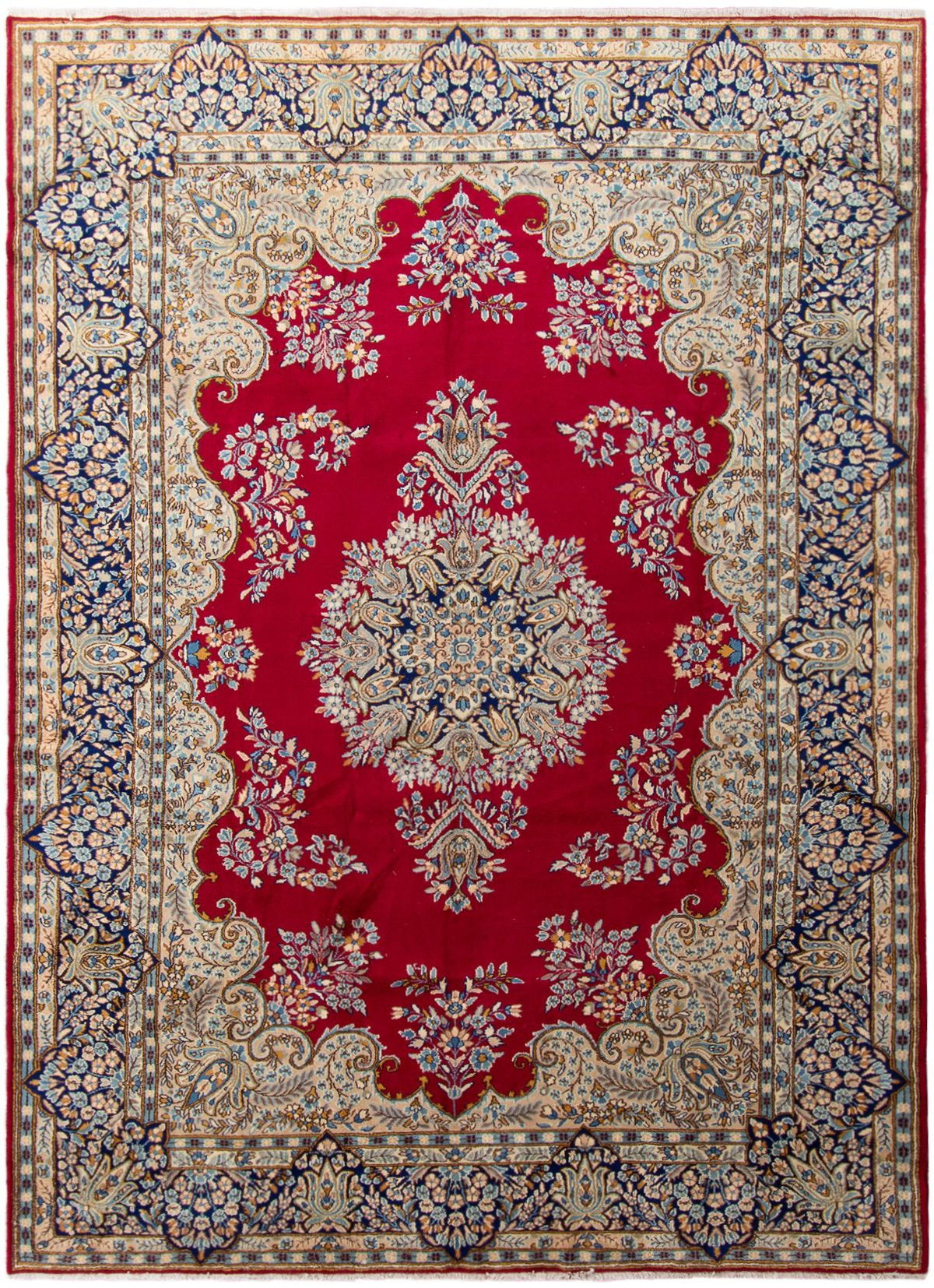 "Hand-knotted Kerman  Wool Rug 8'8"" x 12'1"" Size: 8'8"" x 12'1"""