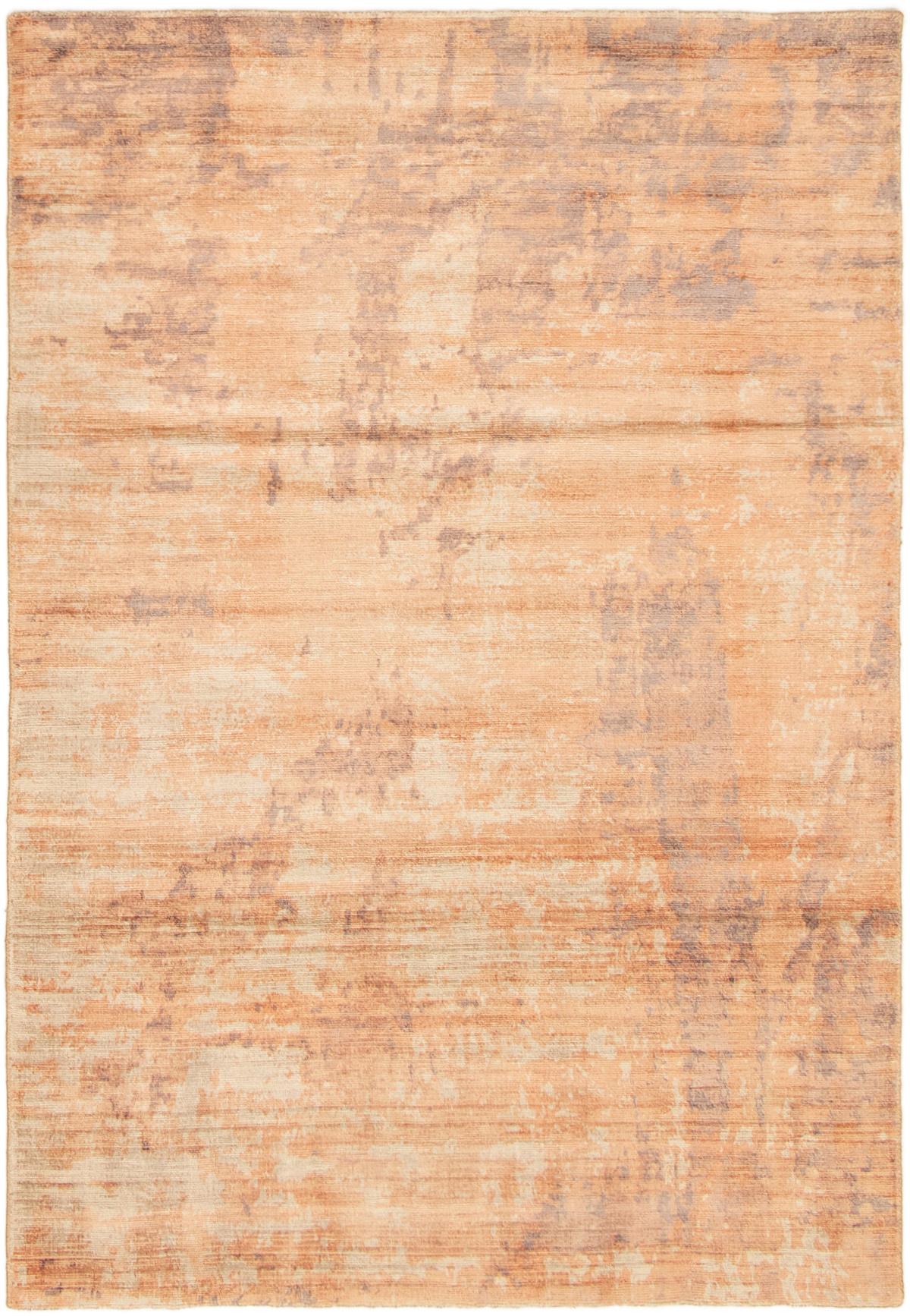 "Hand loomed Galleria Light Orange Viscose Rug 5'0"" x 7'4"" Size: 5'0"" x 7'4"""