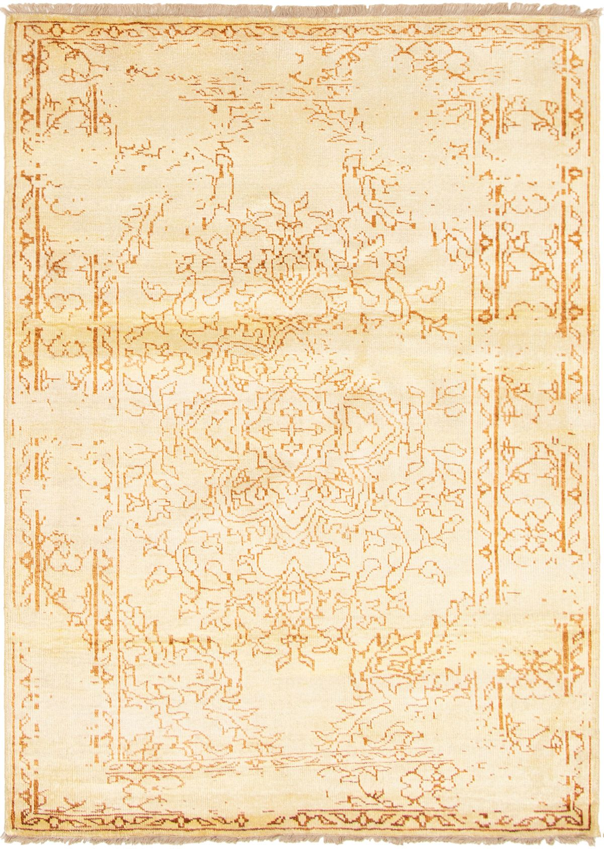"""Hand-knotted Color transition Light Gold  Rug 5'7"""" x 7'6"""" Size: 5'7"""" x 7'6"""""""