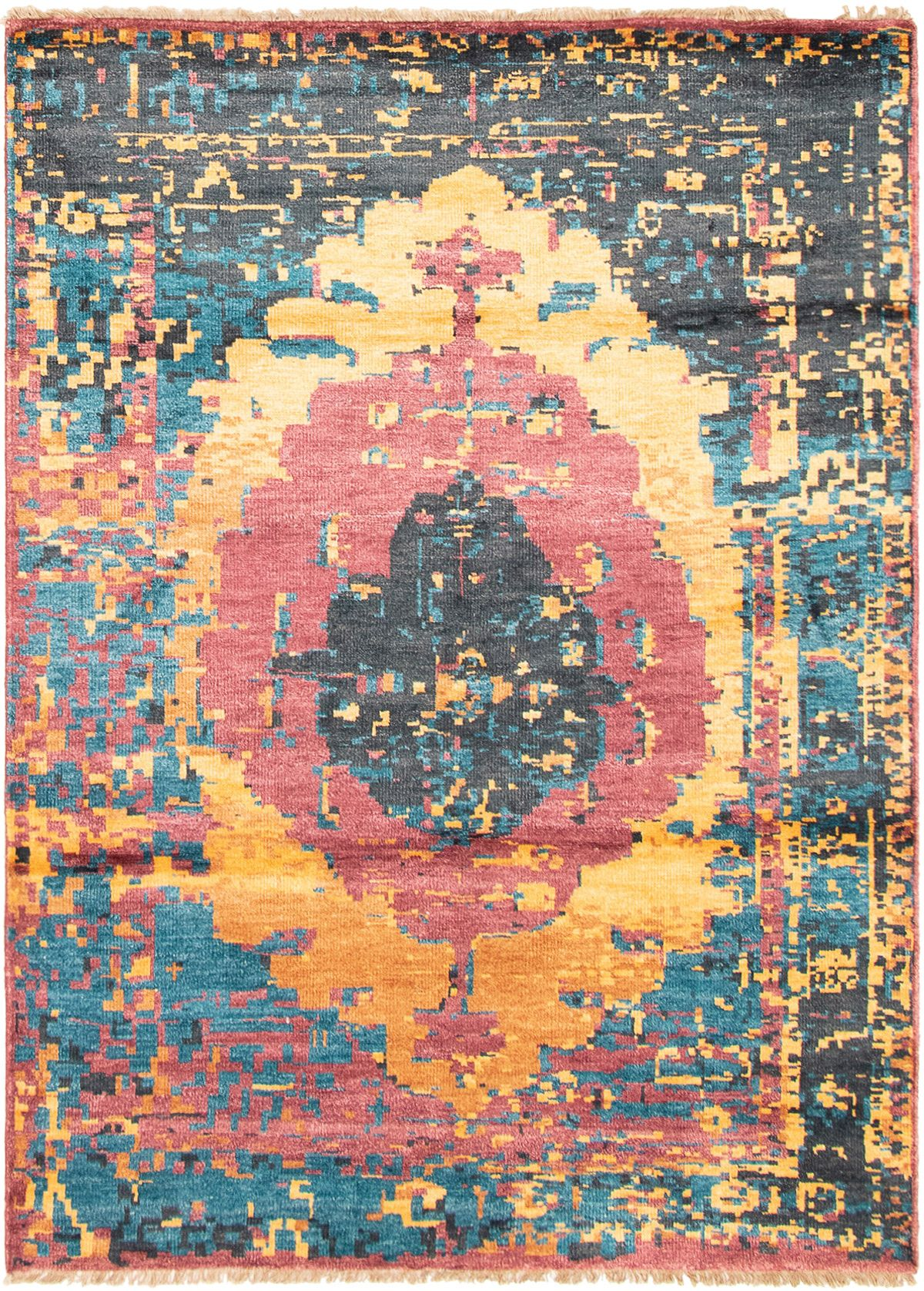 """Hand-knotted Jules Ushak Gold, Red  Rug 5'6"""" x 7'7"""" Size: 5'6"""" x 7'7"""""""