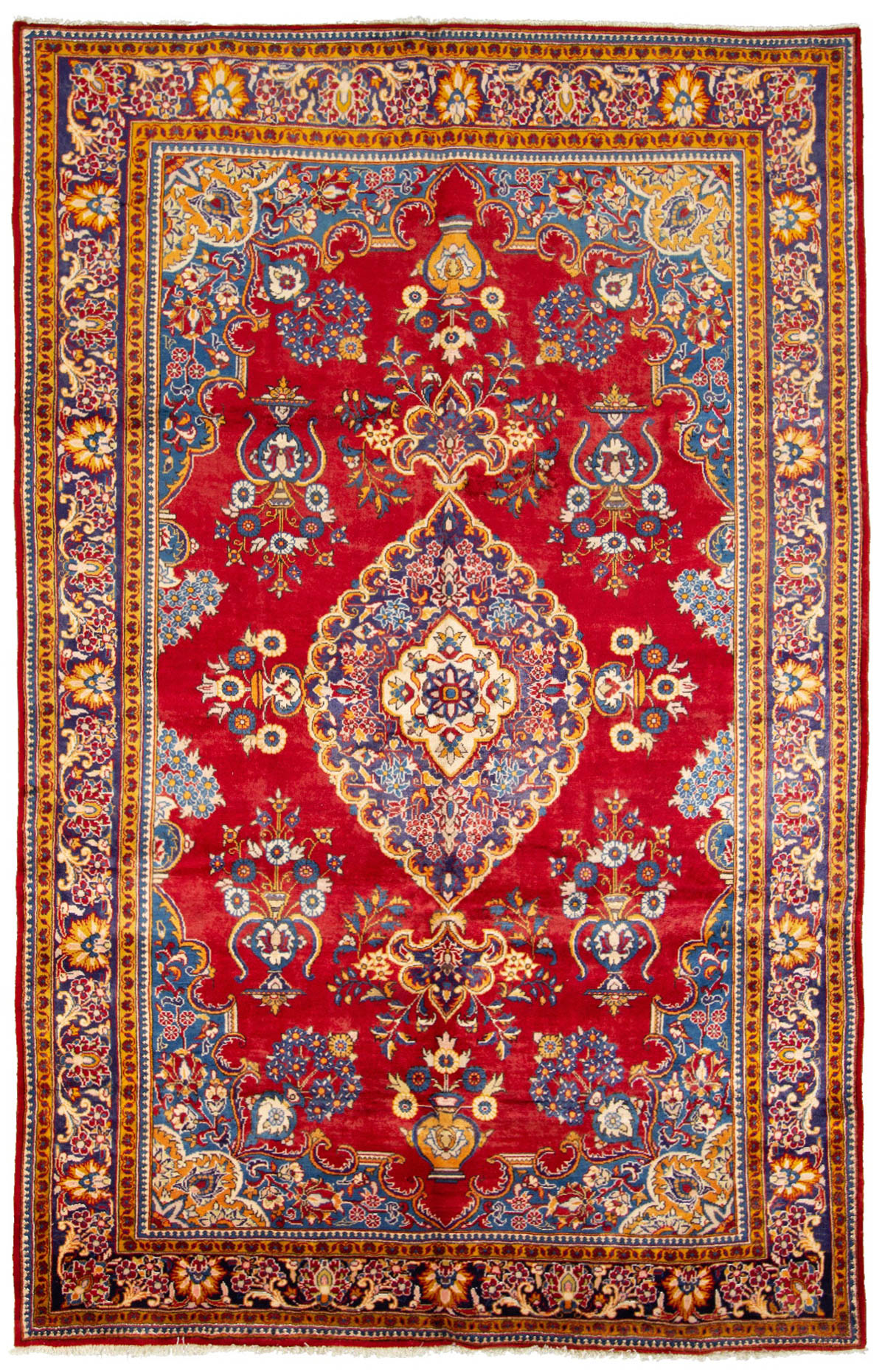 """Hand-knotted Arak  Wool Rug 6'11"""" x 10'11"""" Size: 6'11"""" x 10'11"""""""