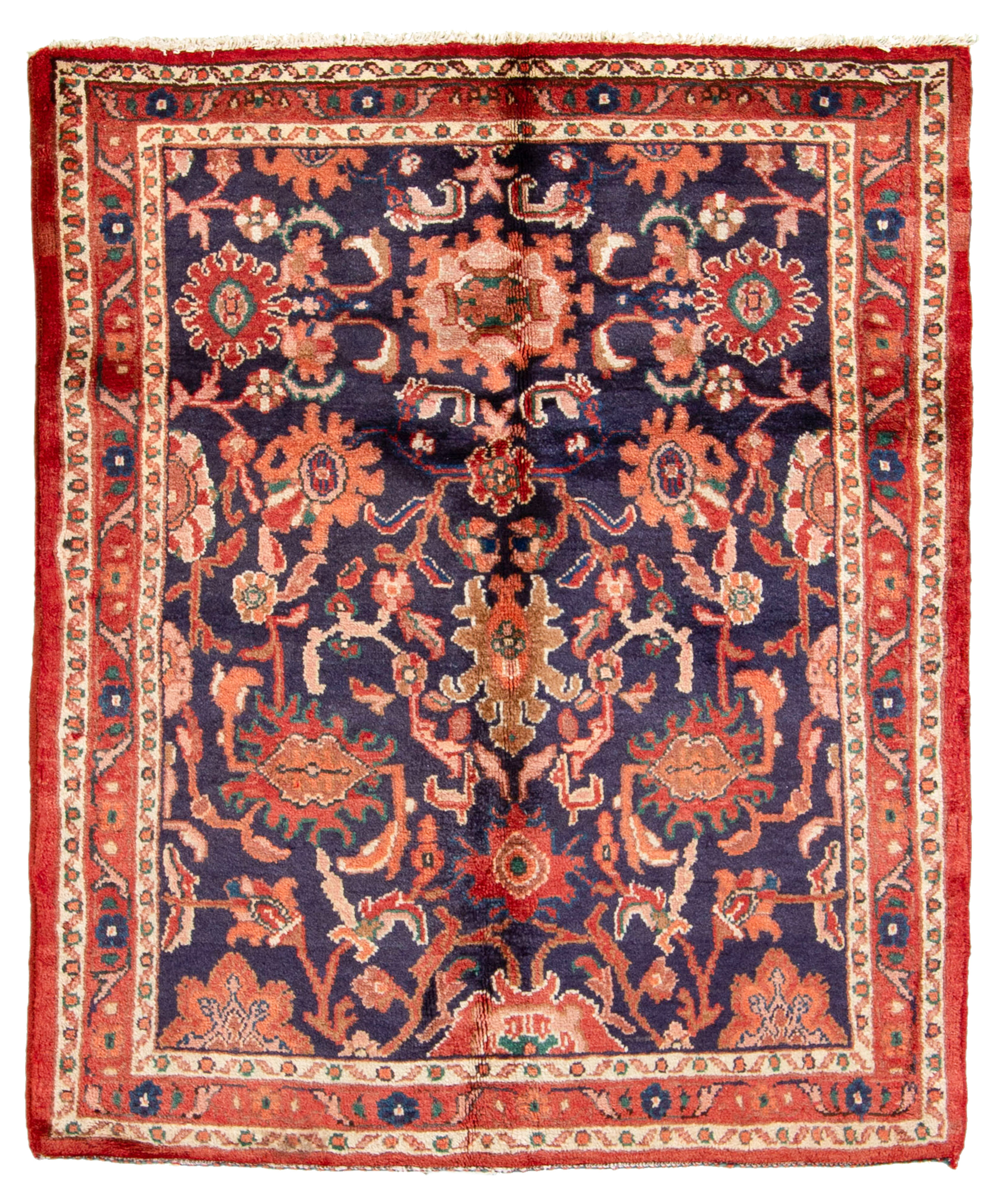 "Hand-knotted Hamadan  Wool Rug 3'8"" x 4'6"" Size: 3'8"" x 4'6"""