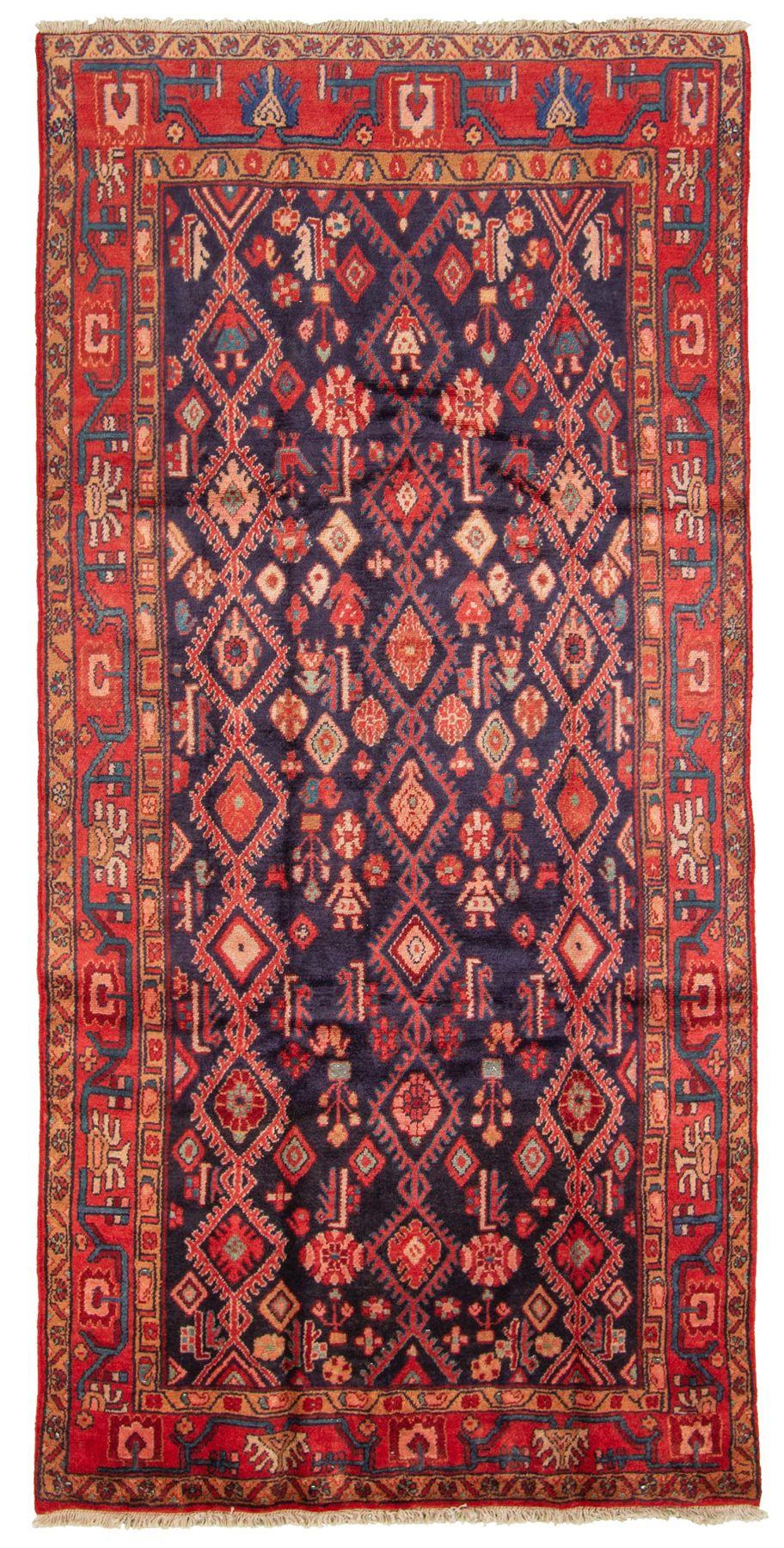 "Hand-knotted Hamadan  Wool Rug 4'6"" x 9'2"" Size: 4'6"" x 9'2"""