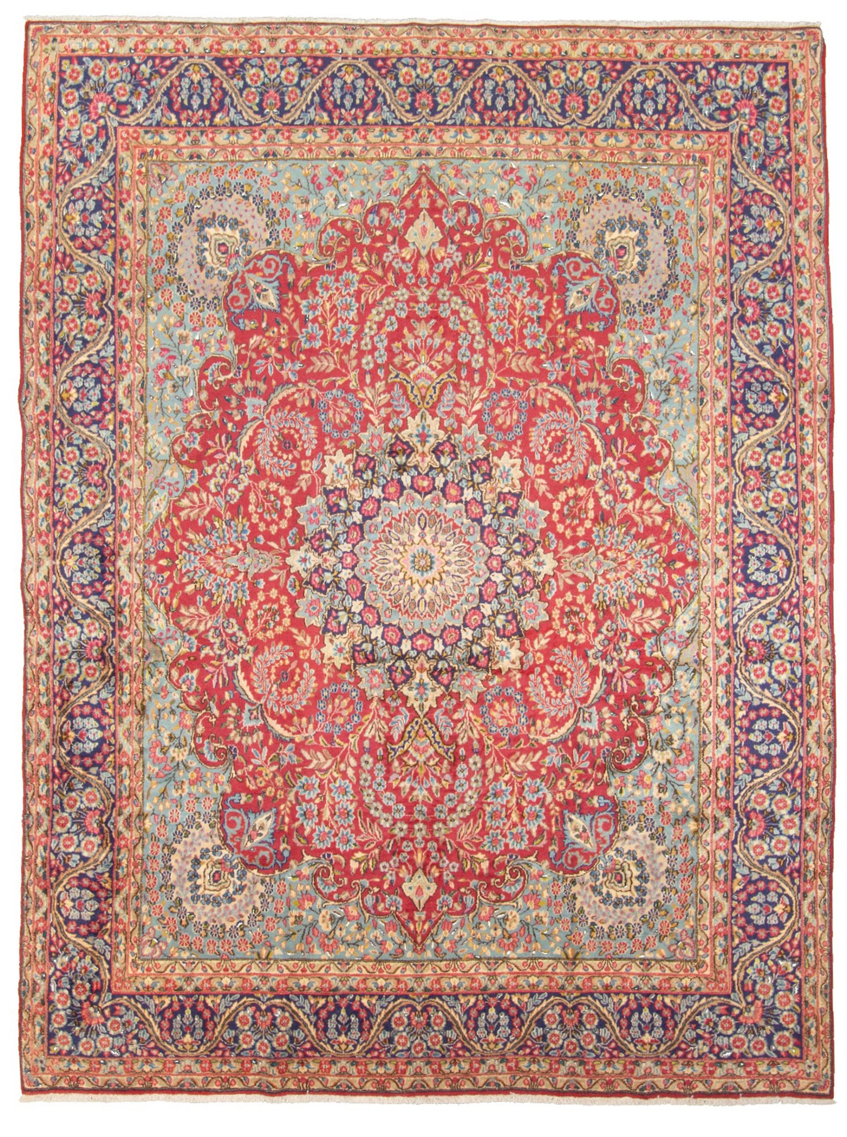 "Hand-knotted Kerman  Wool Rug 9'7"" x 13'0"" Size: 9'7"" x 13'0"""