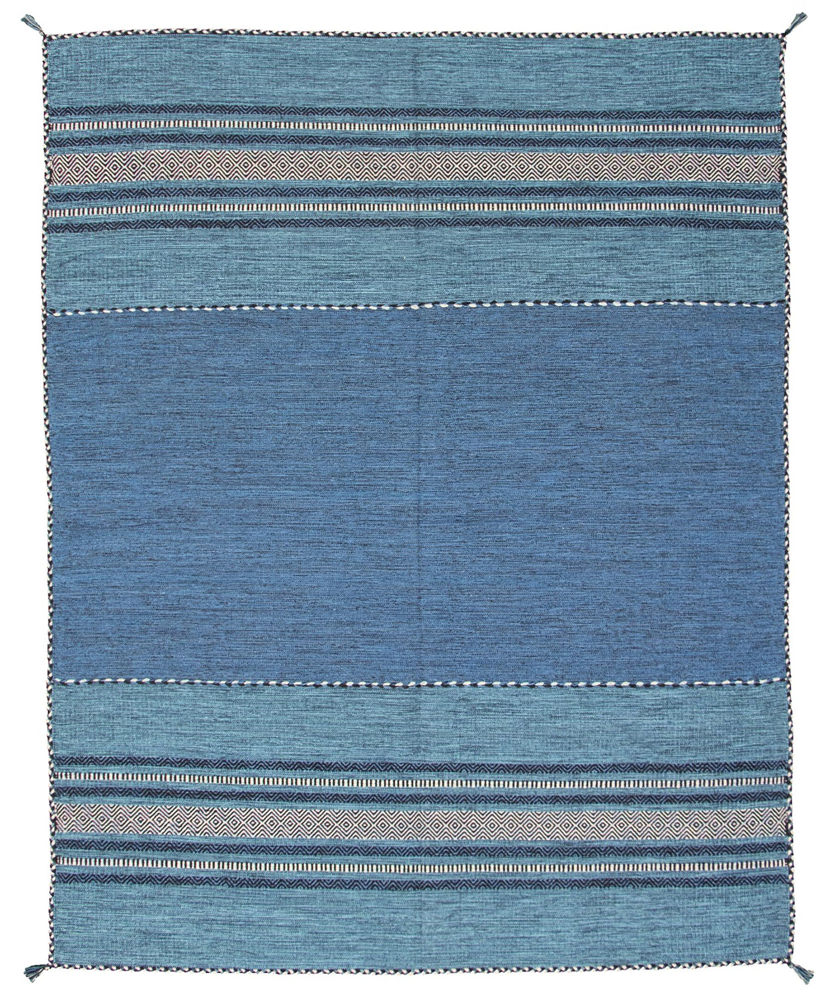 """Hand woven Bold and Colorful I Blue Wool Kilim 8'0"""" x 10'0"""" Size: 8'0"""" x 10'0"""""""