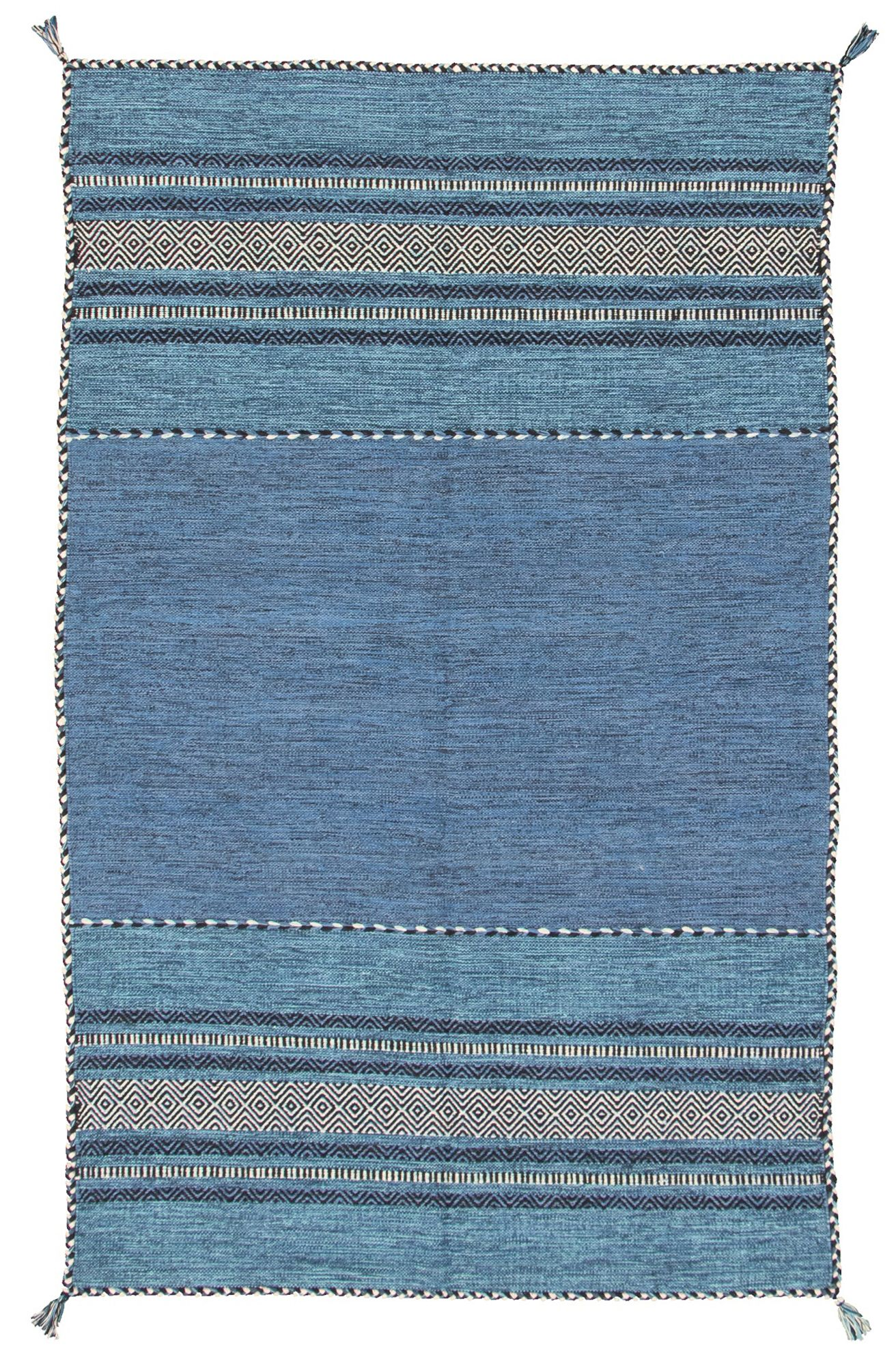 """Hand woven Bold and Colorful I Blue Wool Kilim 5'0"""" x 8'0"""" Size: 5'0"""" x 8'0"""""""