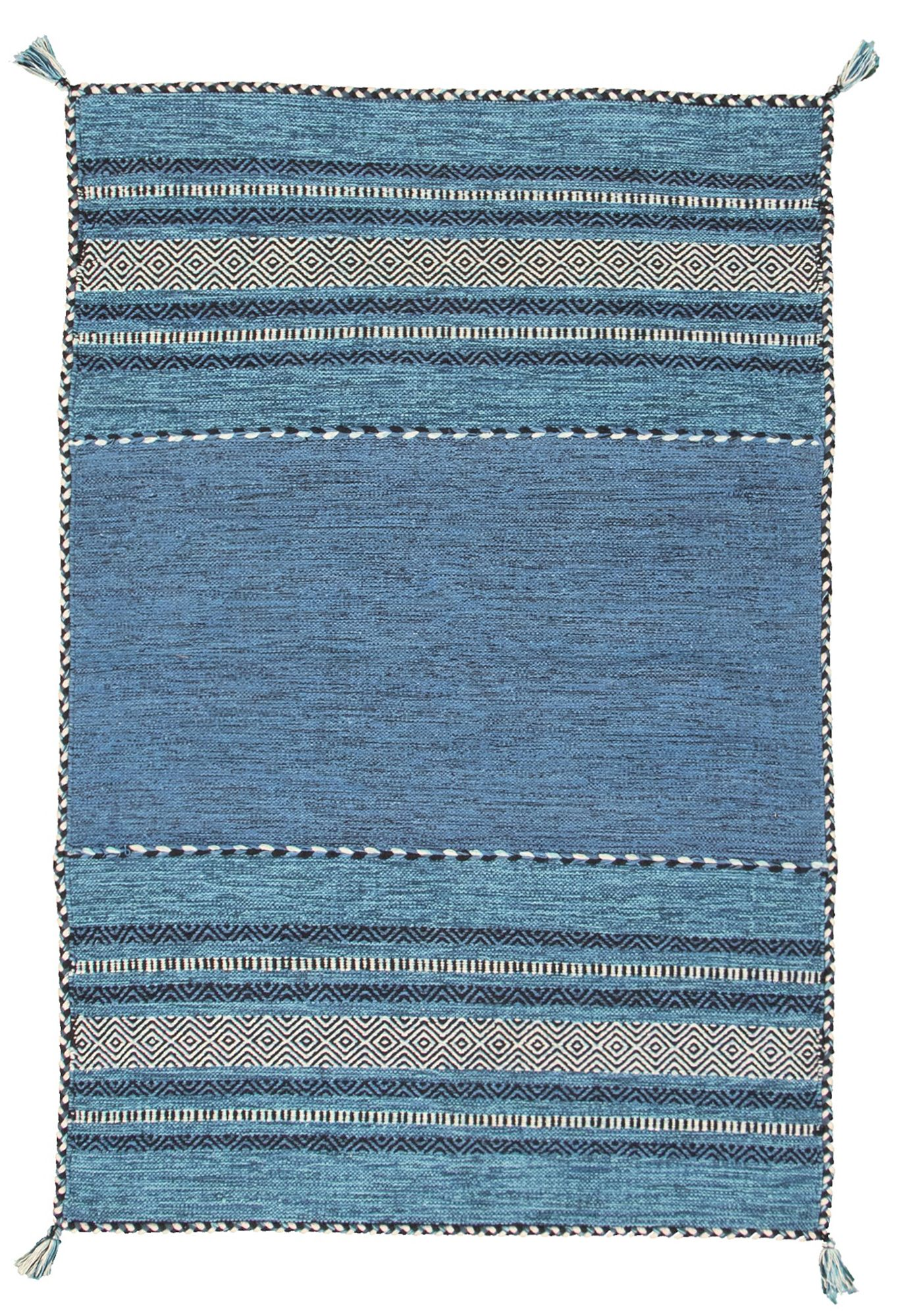 """Hand woven Bold and Colorful I Blue Wool Kilim 4'0"""" x 6'0"""" Size: 4'0"""" x 6'0"""""""