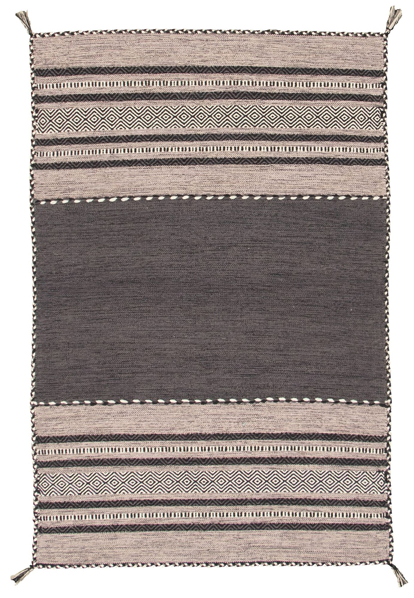 """Hand woven Bold and Colorful I Black, Grey Wool Kilim 4'0"""" x 6'0"""" Size: 4'0"""" x 6'0"""""""