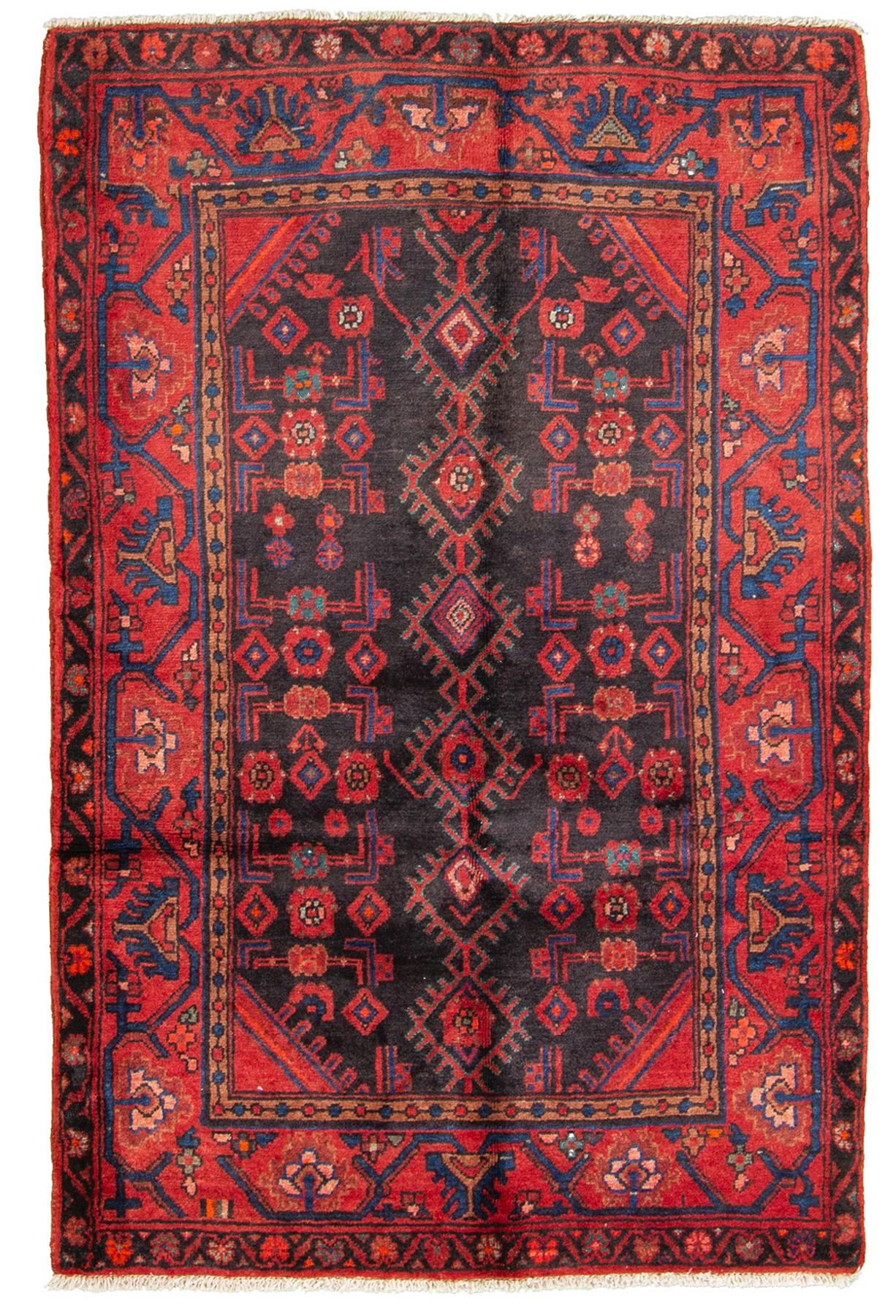 "Hand-knotted Hamadan  Wool Rug 3'6"" x 5'3""  Size: 3'6"" x 5'3"""