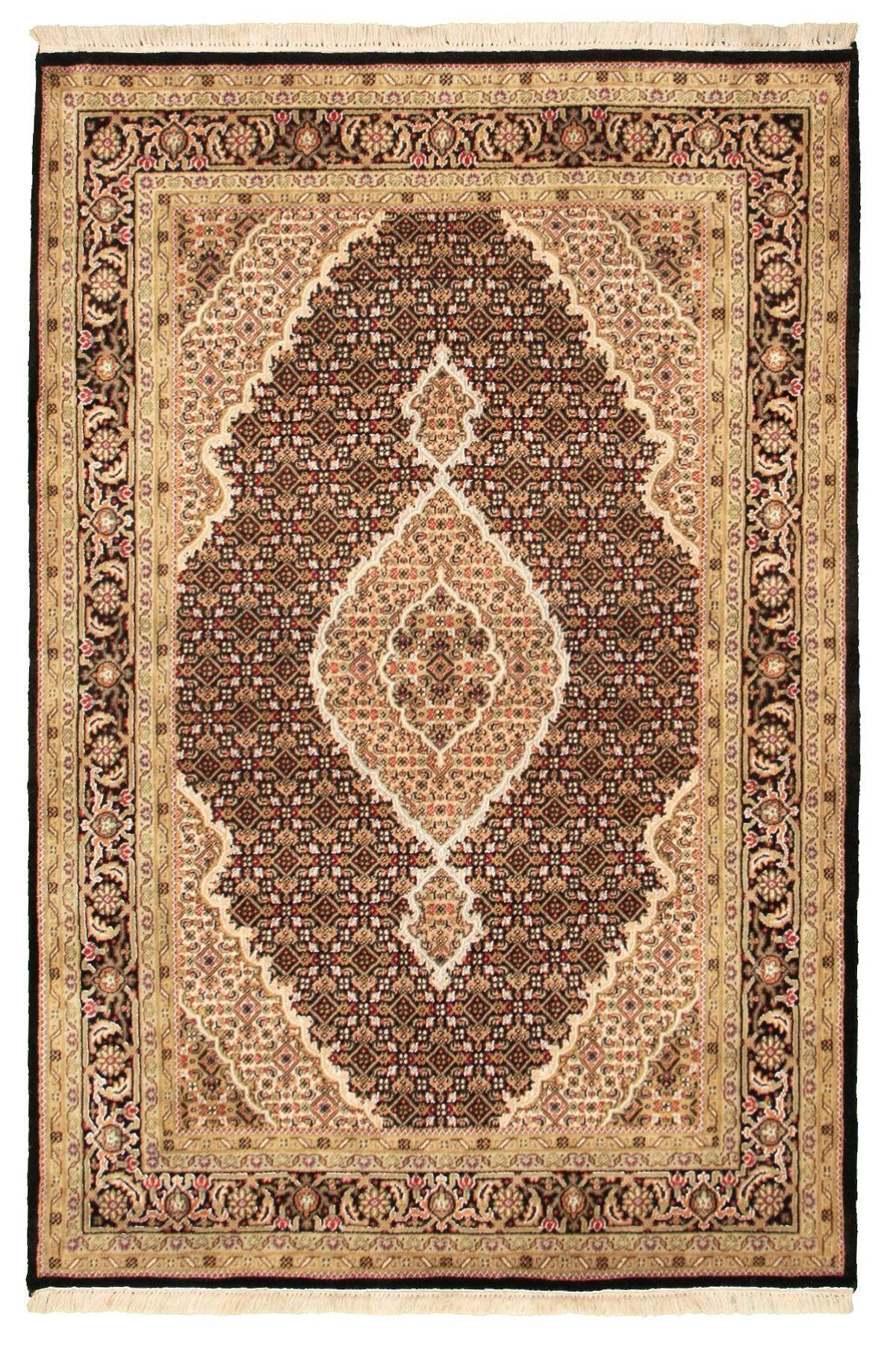 "Hand-knotted Tabriz Haj Jalili Black Wool Rug 4'6"" x 6'7"" Size: 4'6"" x 6'7"""