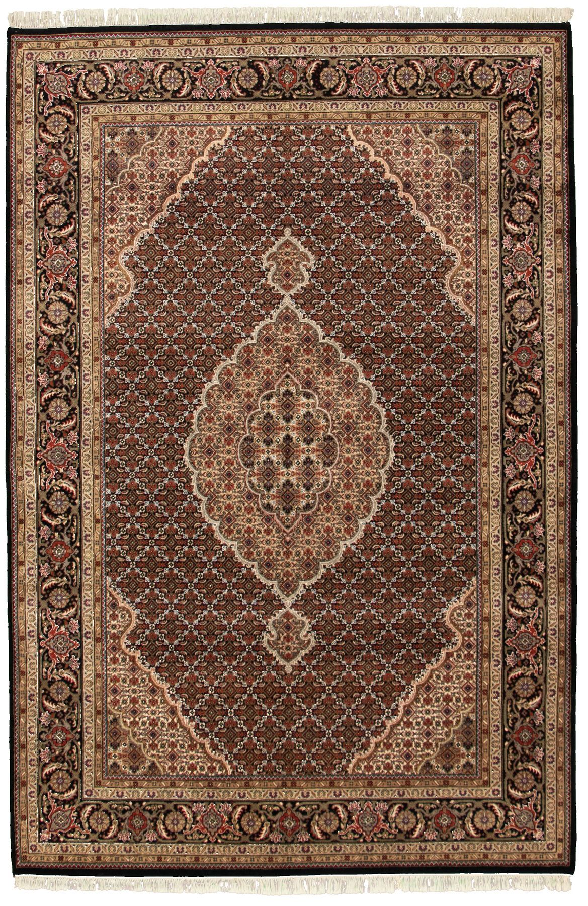 "Hand-knotted Tabriz Haj Jalili Black Wool Rug 6'6"" x 9'9"" Size: 6'6"" x 9'9"""