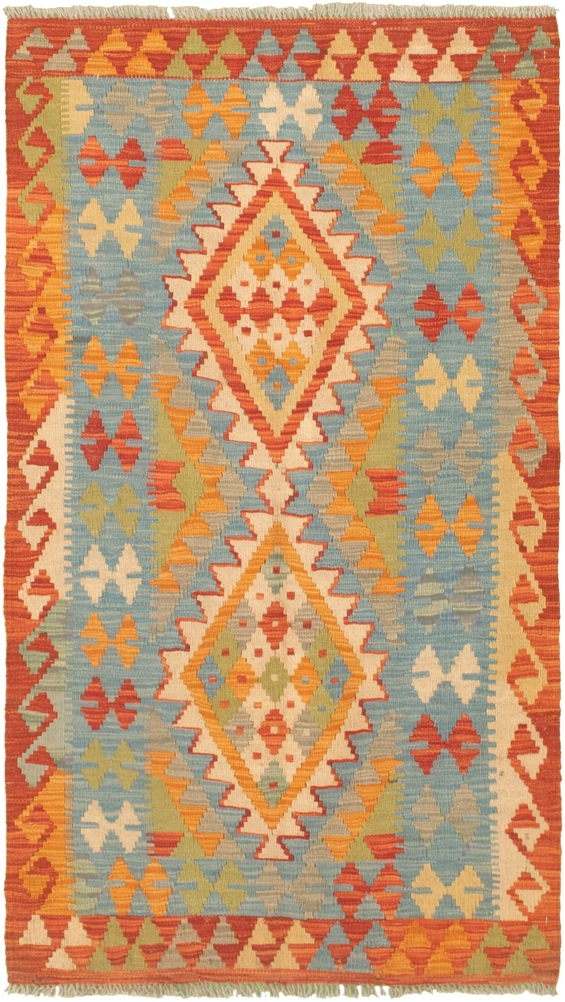"""Hand woven Bold and Colorful  Light Blue  Wool Kilim 2'9"""" x 4'10"""" Size: 2'9"""" x 4'10"""""""
