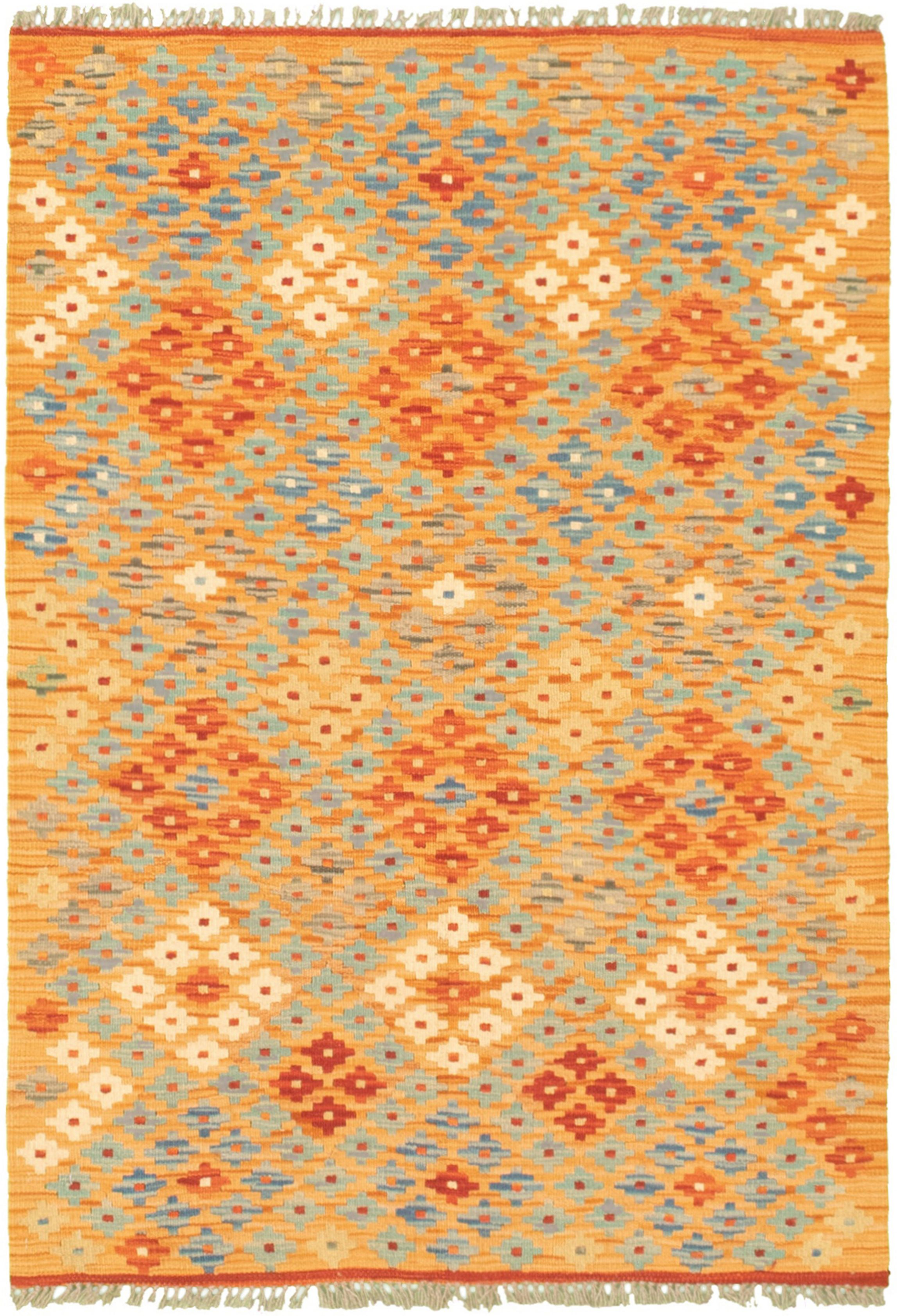 """Hand woven Bold and Colorful  Light Orange Wool Kilim 3'2"""" x 4'9"""" Size: 3'2"""" x 4'9"""""""