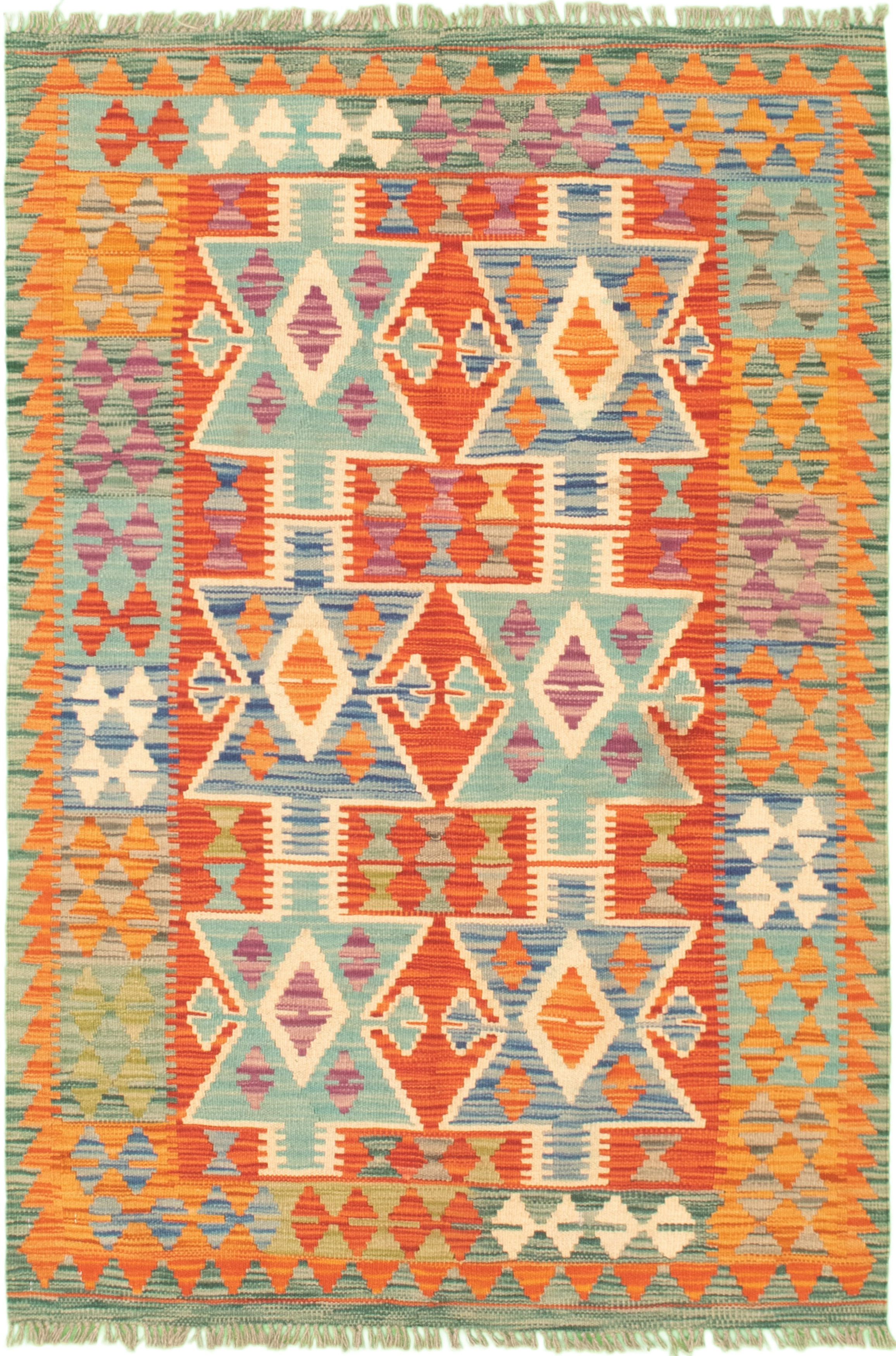 """Hand woven Bold and Colorful  Dark Copper, Light Blue  Wool Kilim 3'3"""" x 5'0"""" Size: 3'3"""" x 5'0"""""""