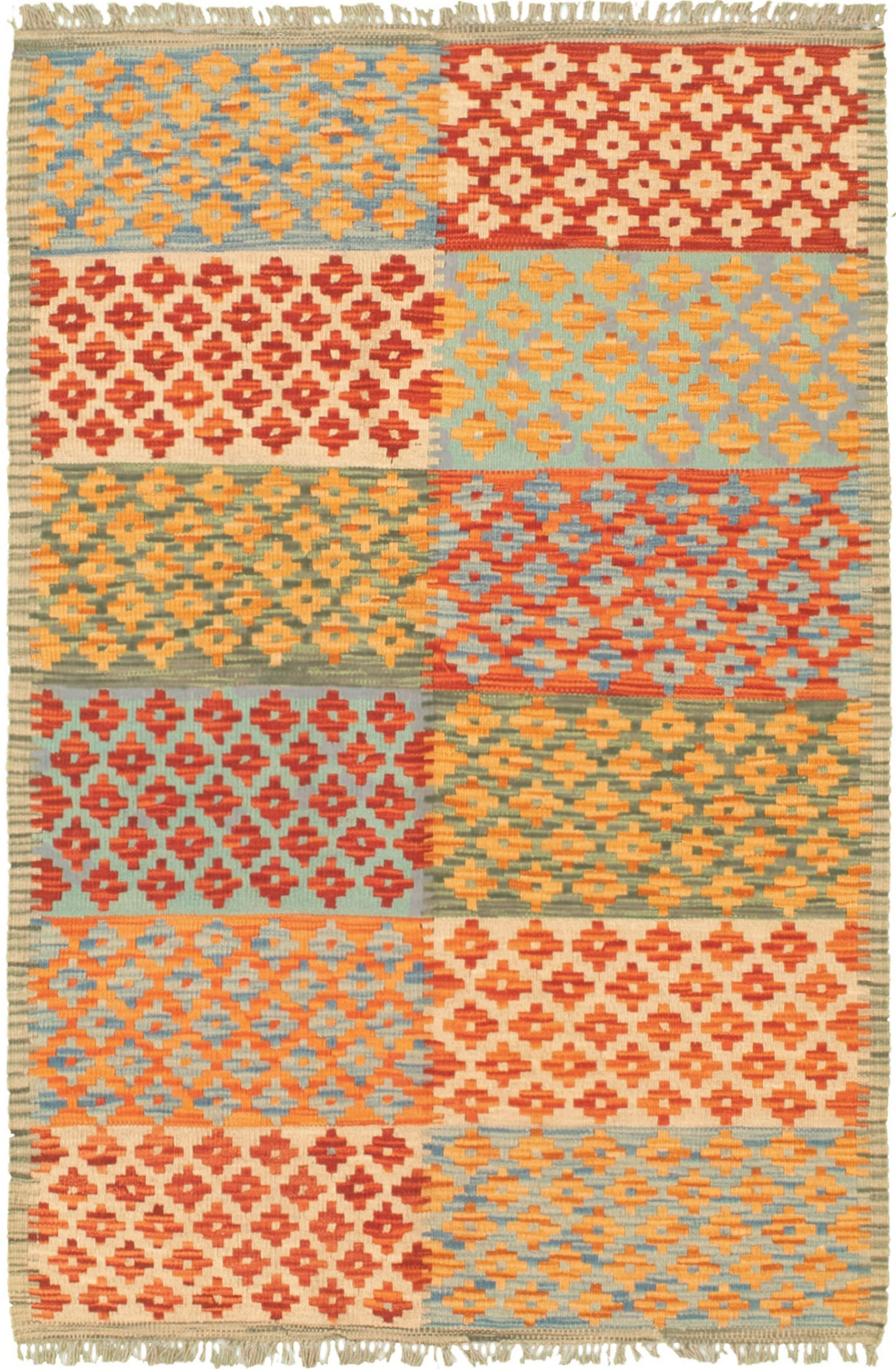 "Hand woven Bold and Colorful  Cream, Dark Copper Wool Kilim 3'2"" x 4'10"" Size: 3'2"" x 4'10"""