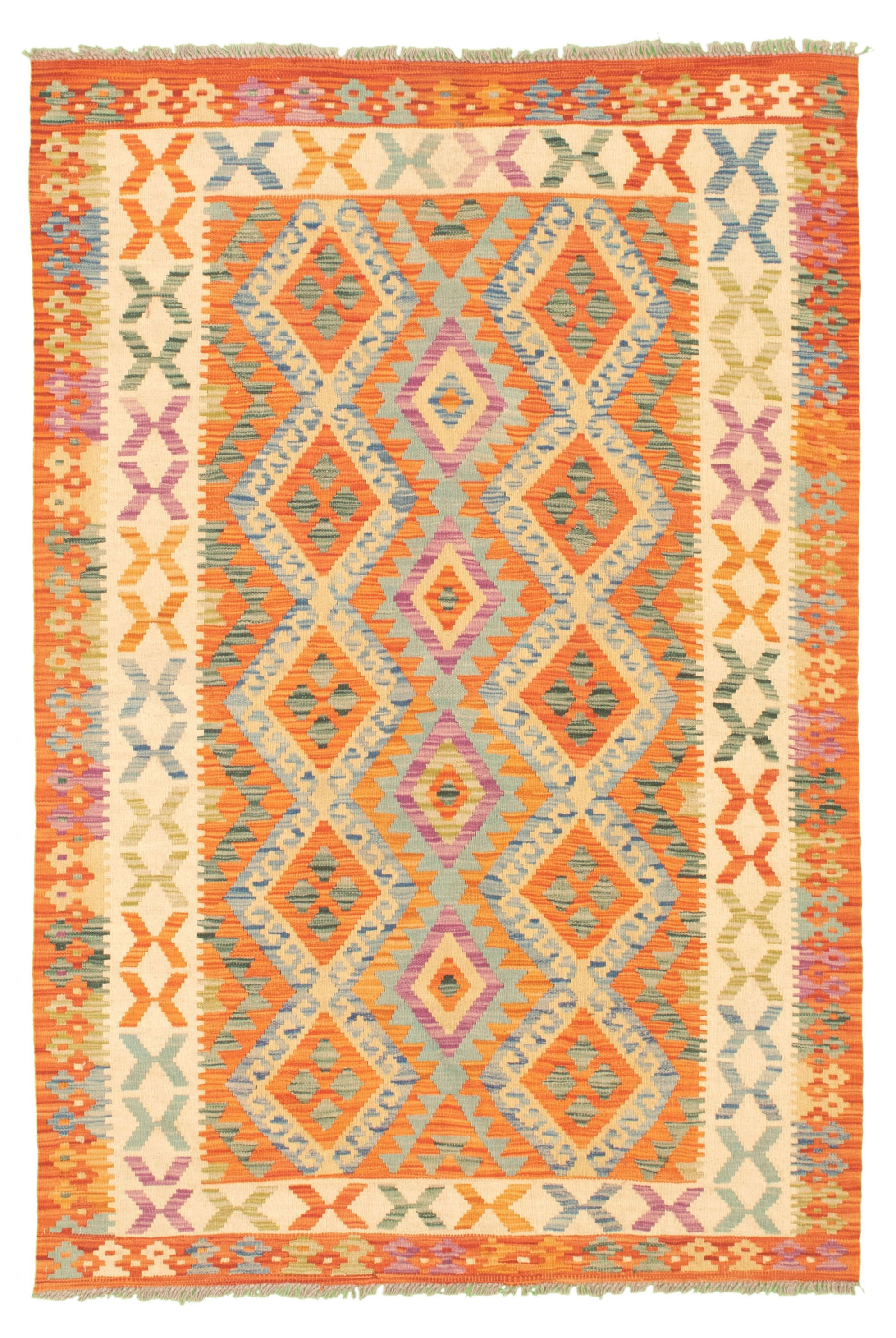 """Hand woven Bold and Colorful  Light Blue , Light Orange Wool Kilim 4'4"""" x 6'5"""" Size: 4'4"""" x 6'5"""""""