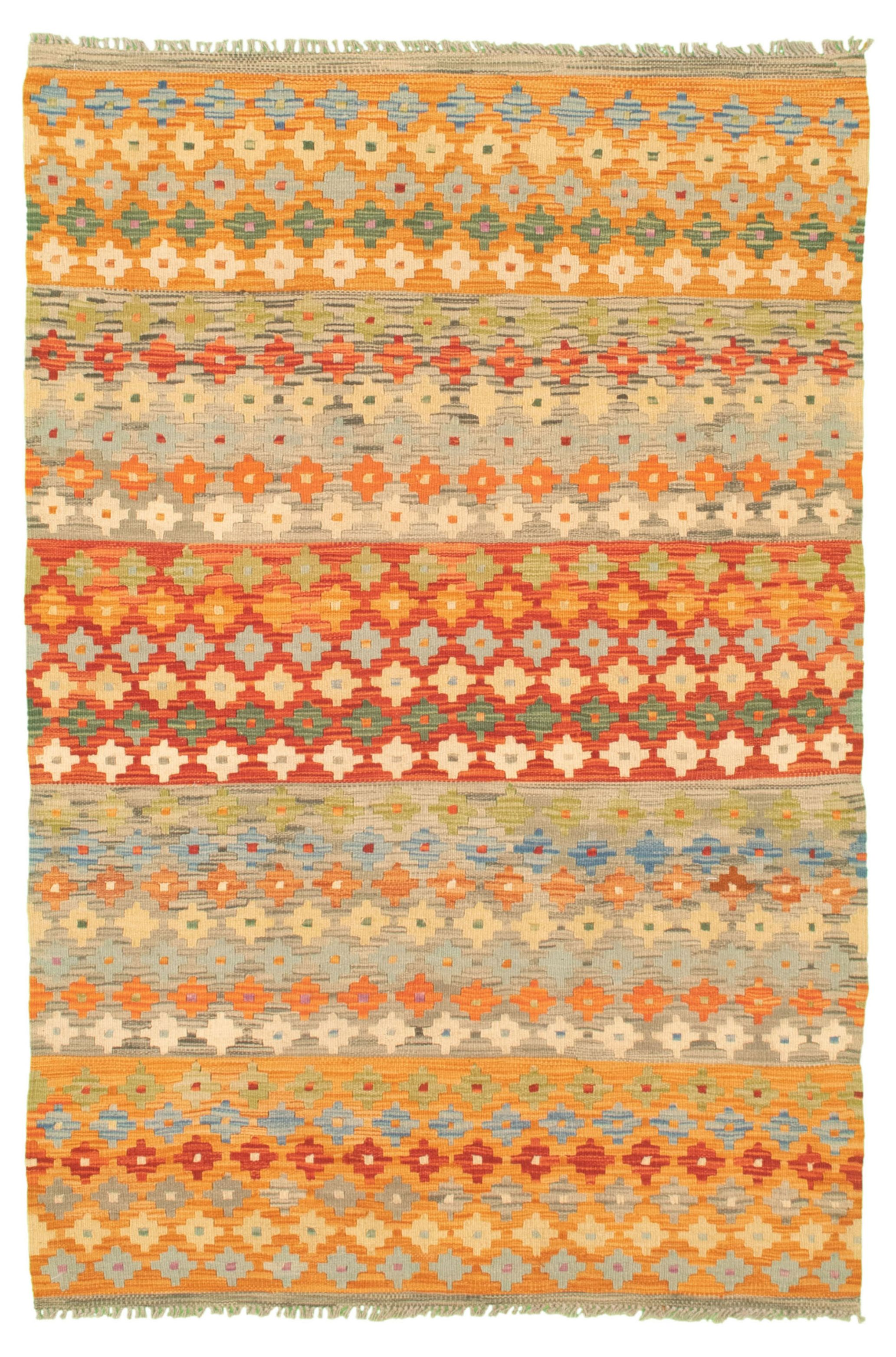 "Hand woven Bold and Colorful  Light Khaki, Orange Wool Kilim 4'2"" x 6'3"" Size: 4'2"" x 6'3"""