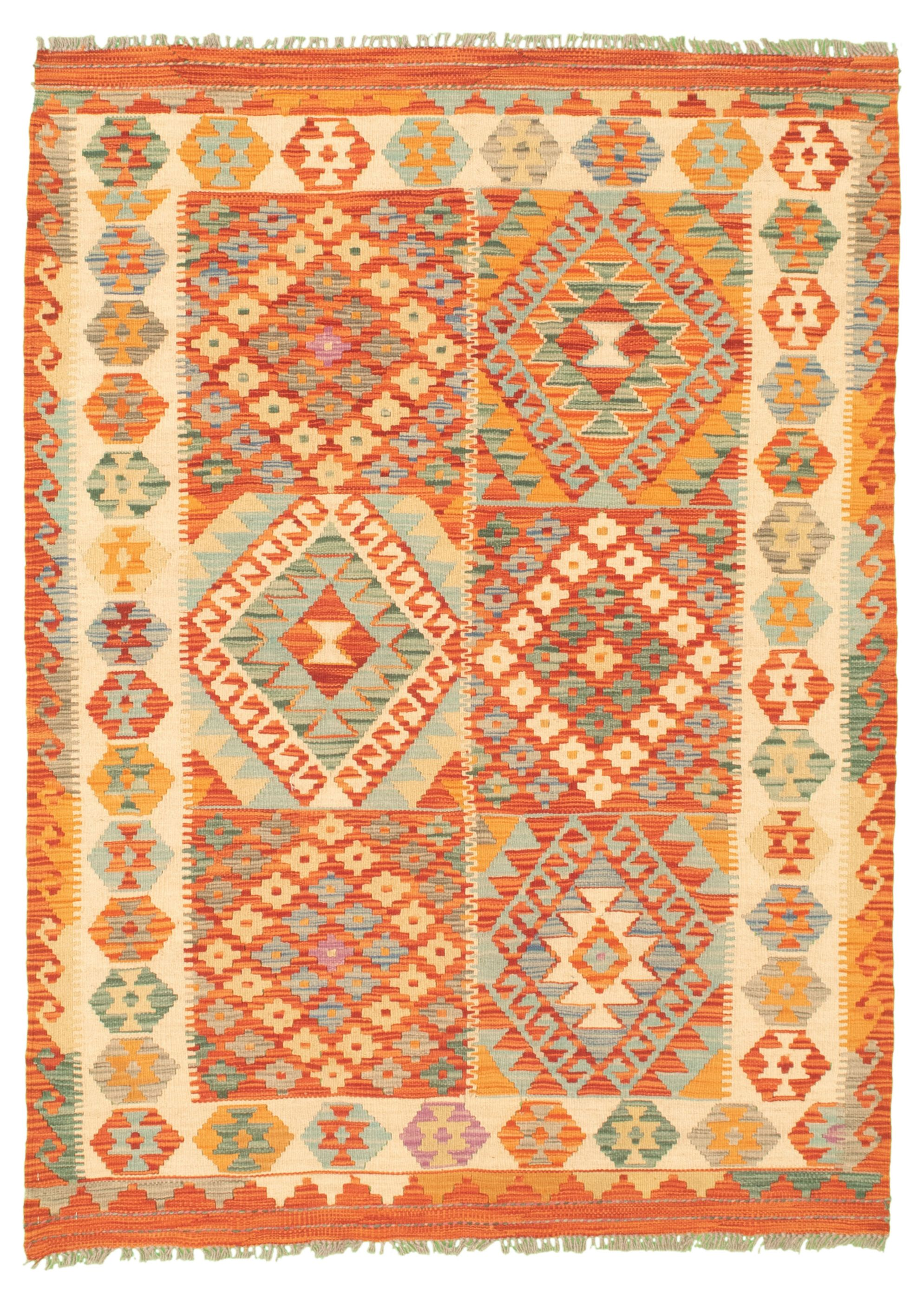 """Hand woven Bold and Colorful  Dark Copper Wool Kilim 4'4"""" x 5'2"""" Size: 4'4"""" x 5'2"""""""