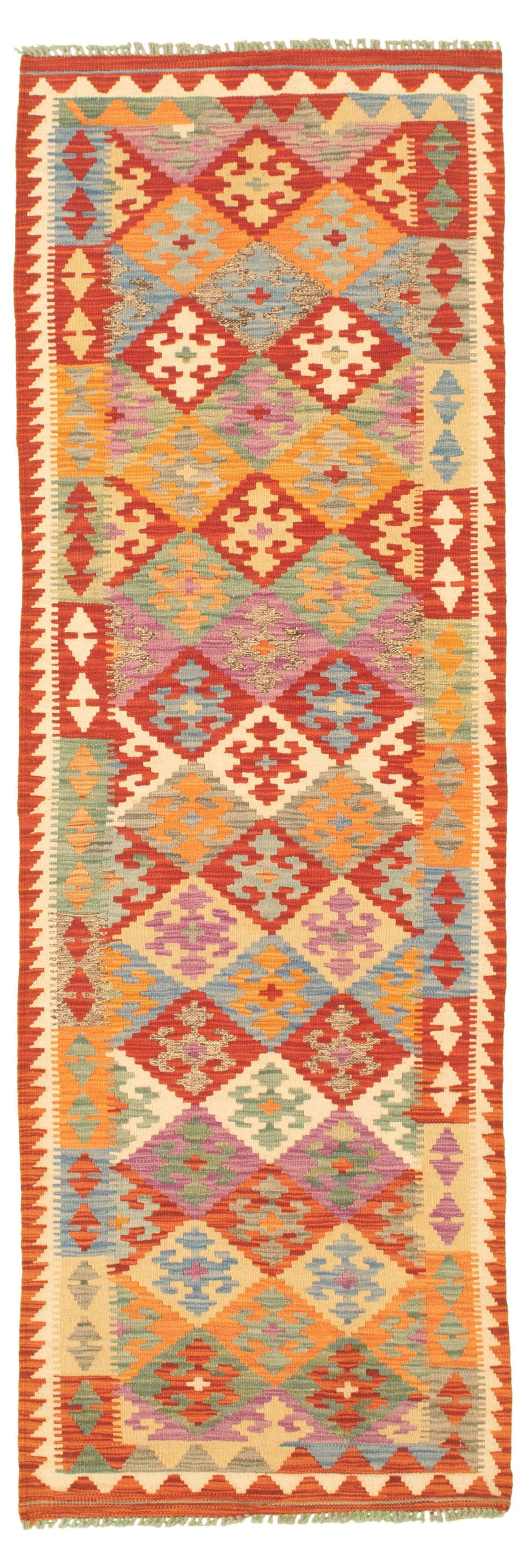 """Hand woven Bold and Colorful  Dark Copper Wool Kilim 2'7"""" x 8'4"""" Size: 2'7"""" x 8'4"""""""