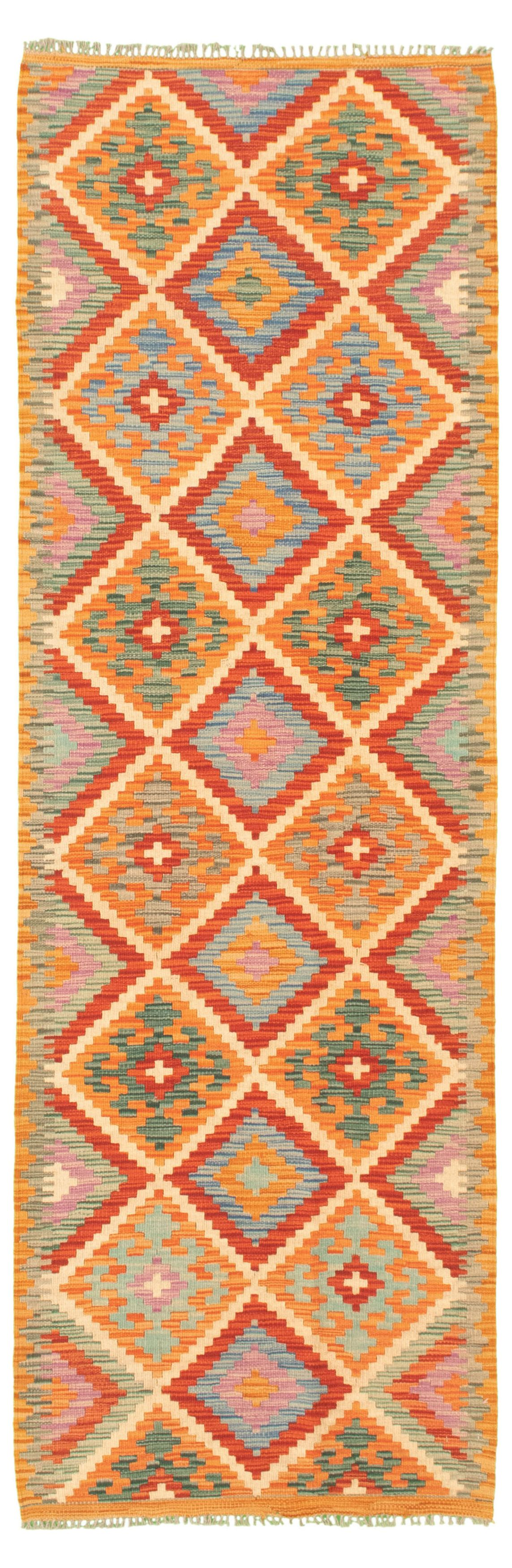 """Hand woven Bold and Colorful  Light Orange Wool Kilim 2'8"""" x 8'4"""" Size: 2'8"""" x 8'4"""""""