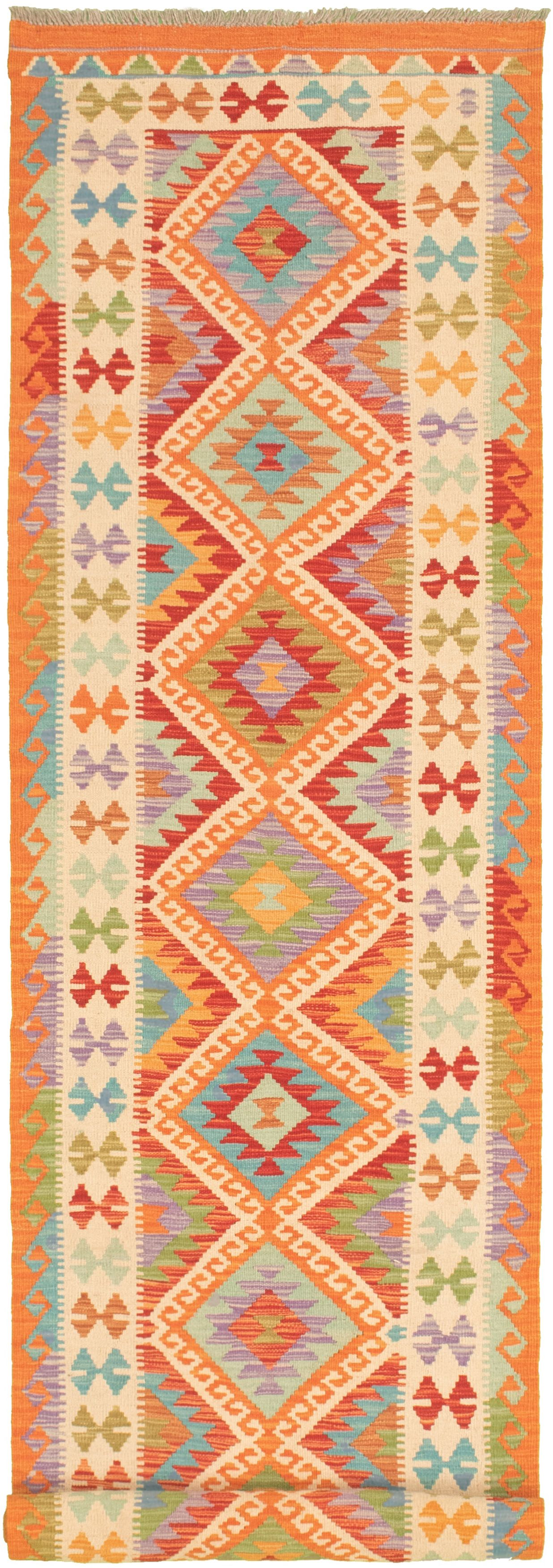 """Hand woven Bold and Colorful  Light Orange Wool Kilim 2'8"""" x 13'2"""" Size: 2'8"""" x 13'2"""""""