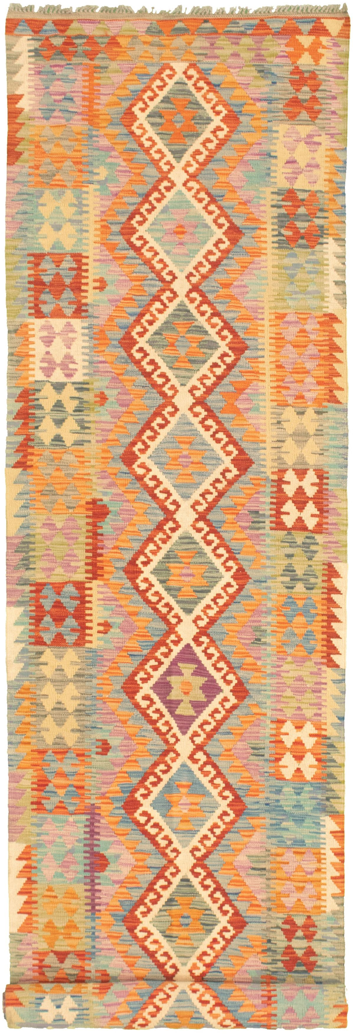 """Hand woven Bold and Colorful  Dark Copper, Light Blue  Wool Kilim 2'9"""" x 16'3"""" Size: 2'9"""" x 16'3"""""""