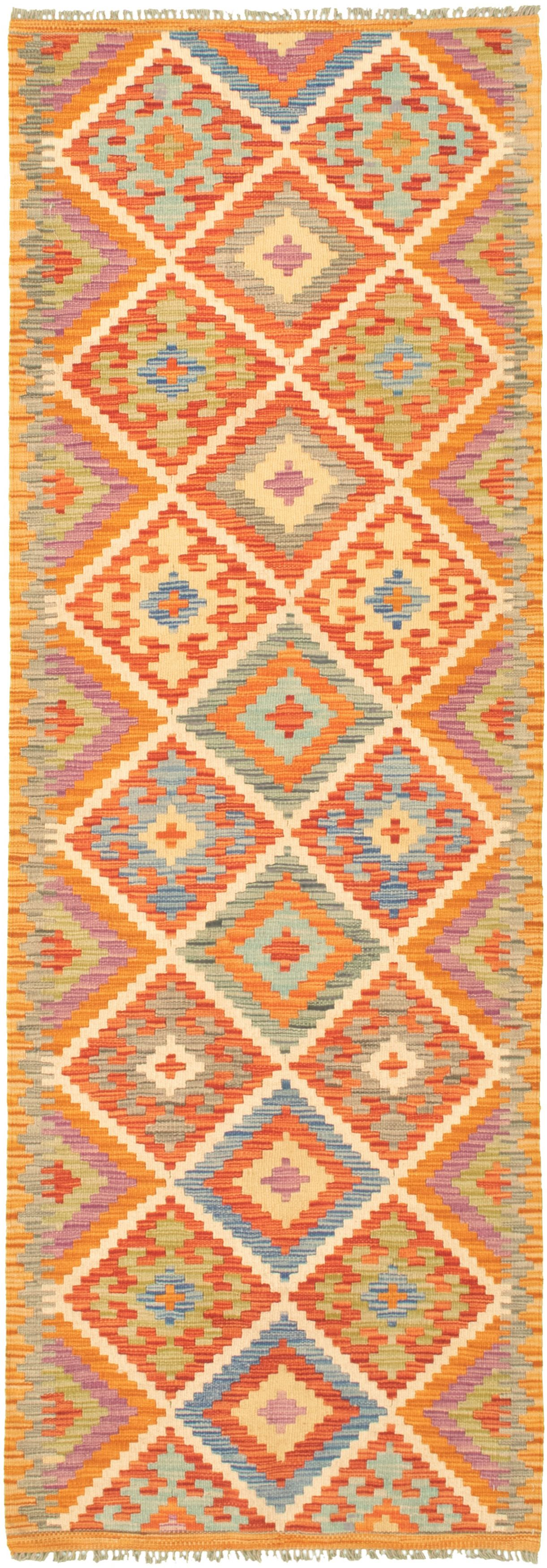 "Hand woven Bold and Colorful  Dark Copper, Light Orange Wool Kilim 2'8"" x 8'3"" Size: 2'8"" x 8'3"""