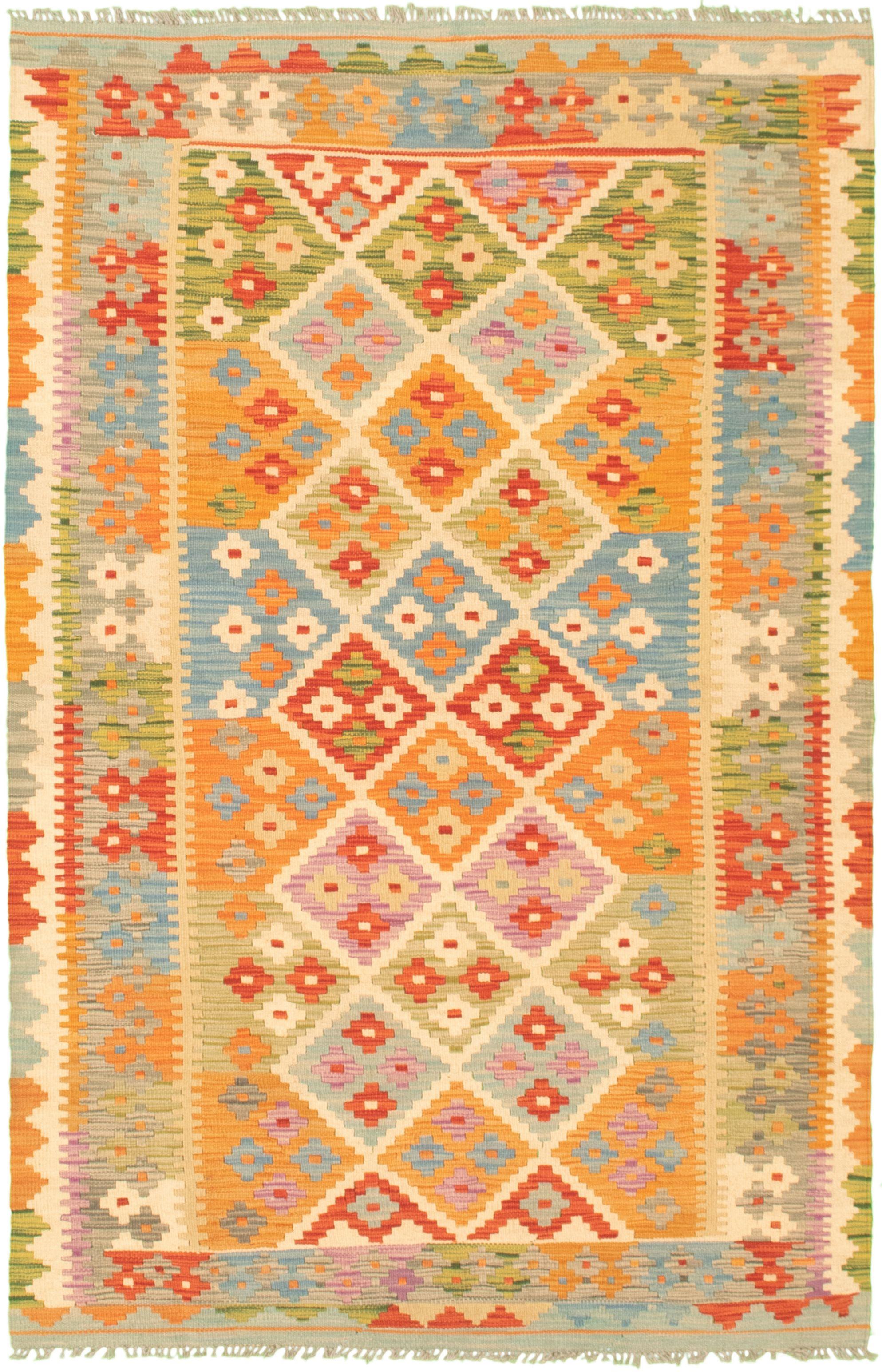 "Hand woven Bold and Colorful  Cream, Light Orange Wool Kilim 4'2"" x 6'6"" Size: 4'2"" x 6'6"""